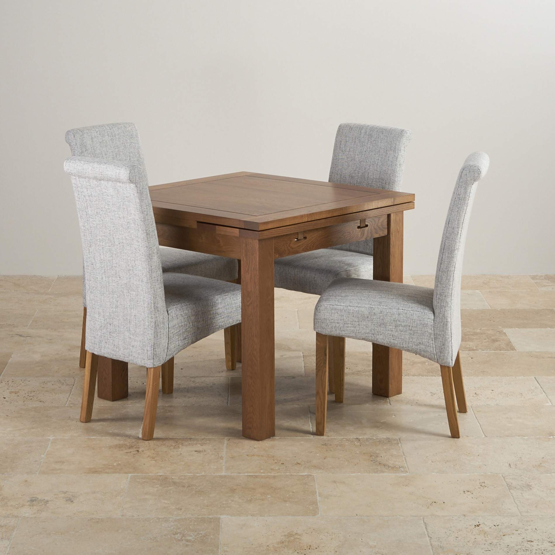 Rustic Oak 3ft Dining Table With 4 Grey Fabric Chairs