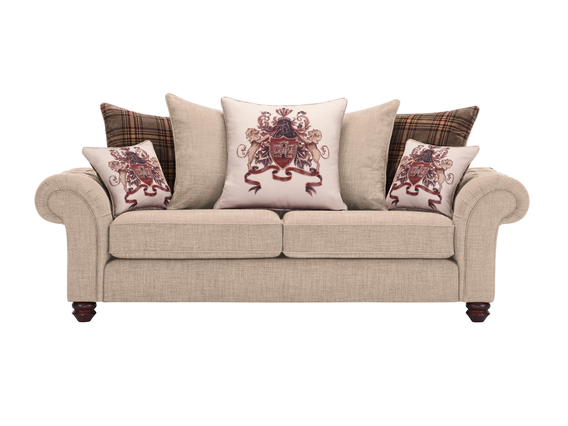 sandringham 3 seater pillow back sofa in beige with beige and brown scatters. Black Bedroom Furniture Sets. Home Design Ideas
