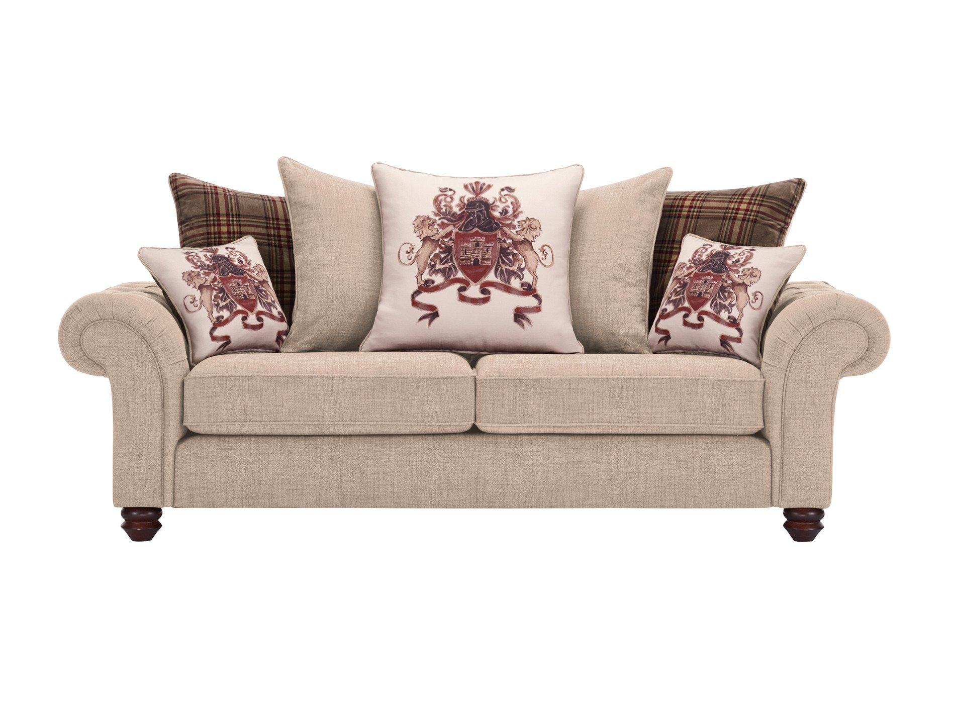 sandringham 3 seater pillow back sofa in beige with beige. Black Bedroom Furniture Sets. Home Design Ideas