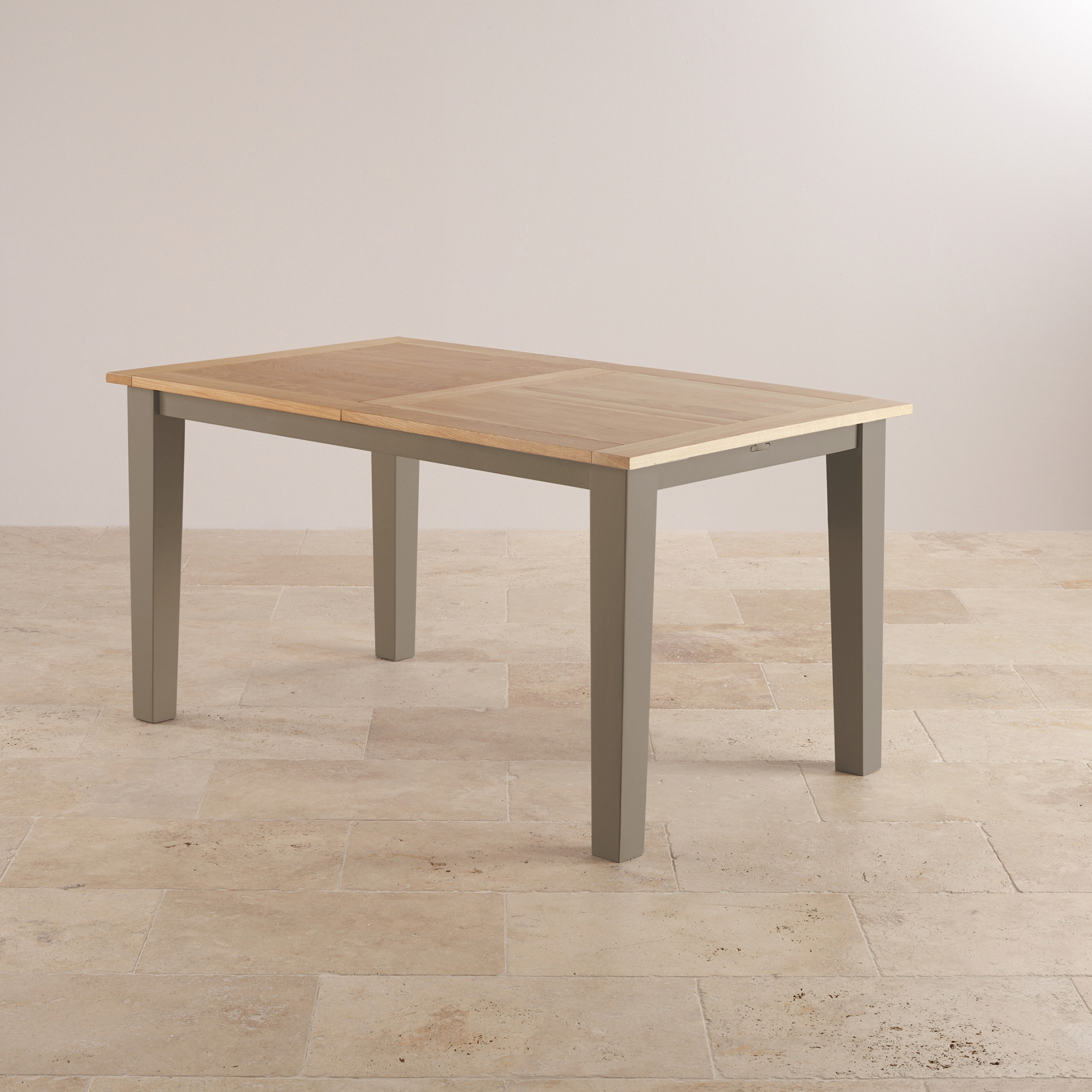 St ives 5ft extending dining table in light grey painted oak for 5ft dining room table