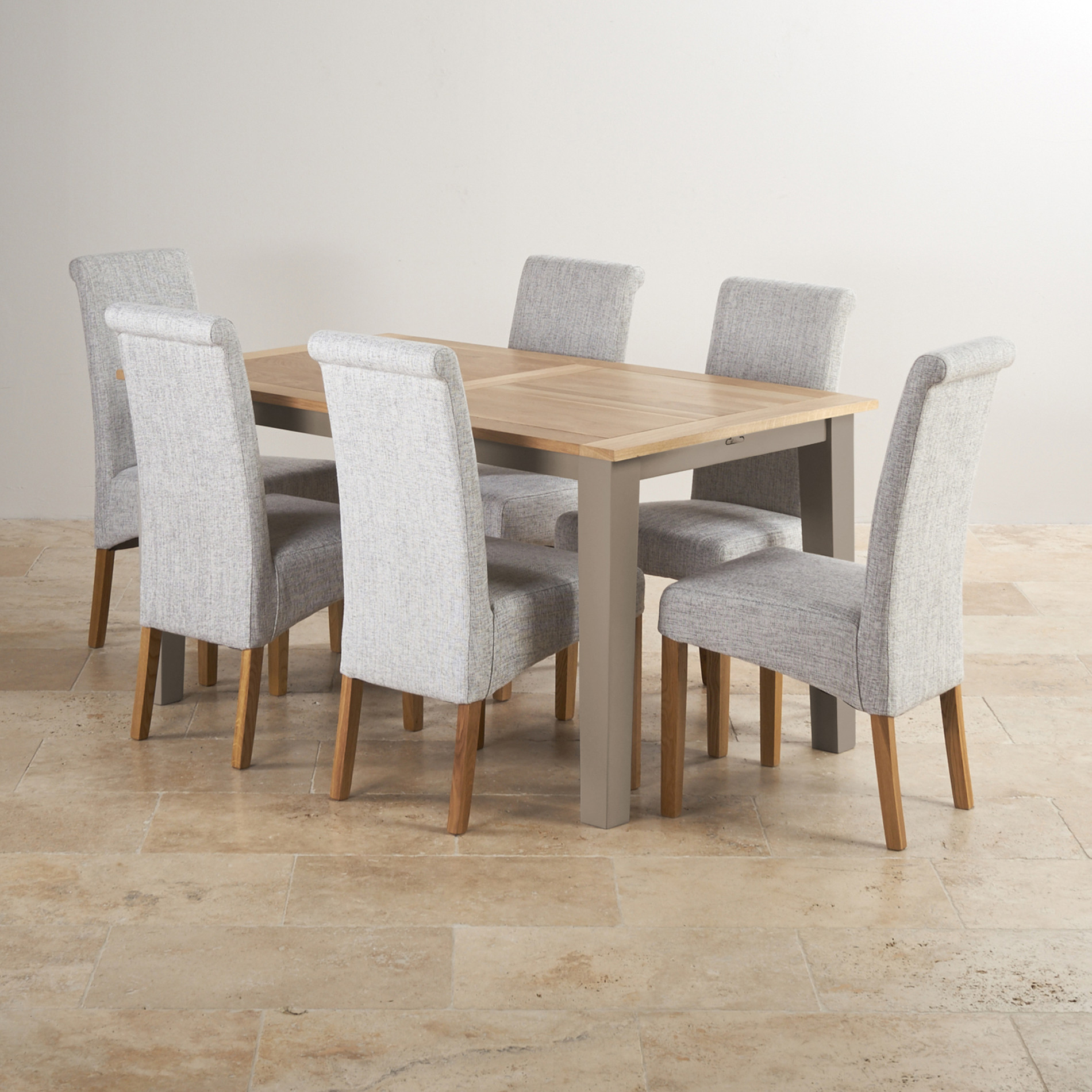st ives light grey painted extending dining table 6 fabric chairs. Black Bedroom Furniture Sets. Home Design Ideas