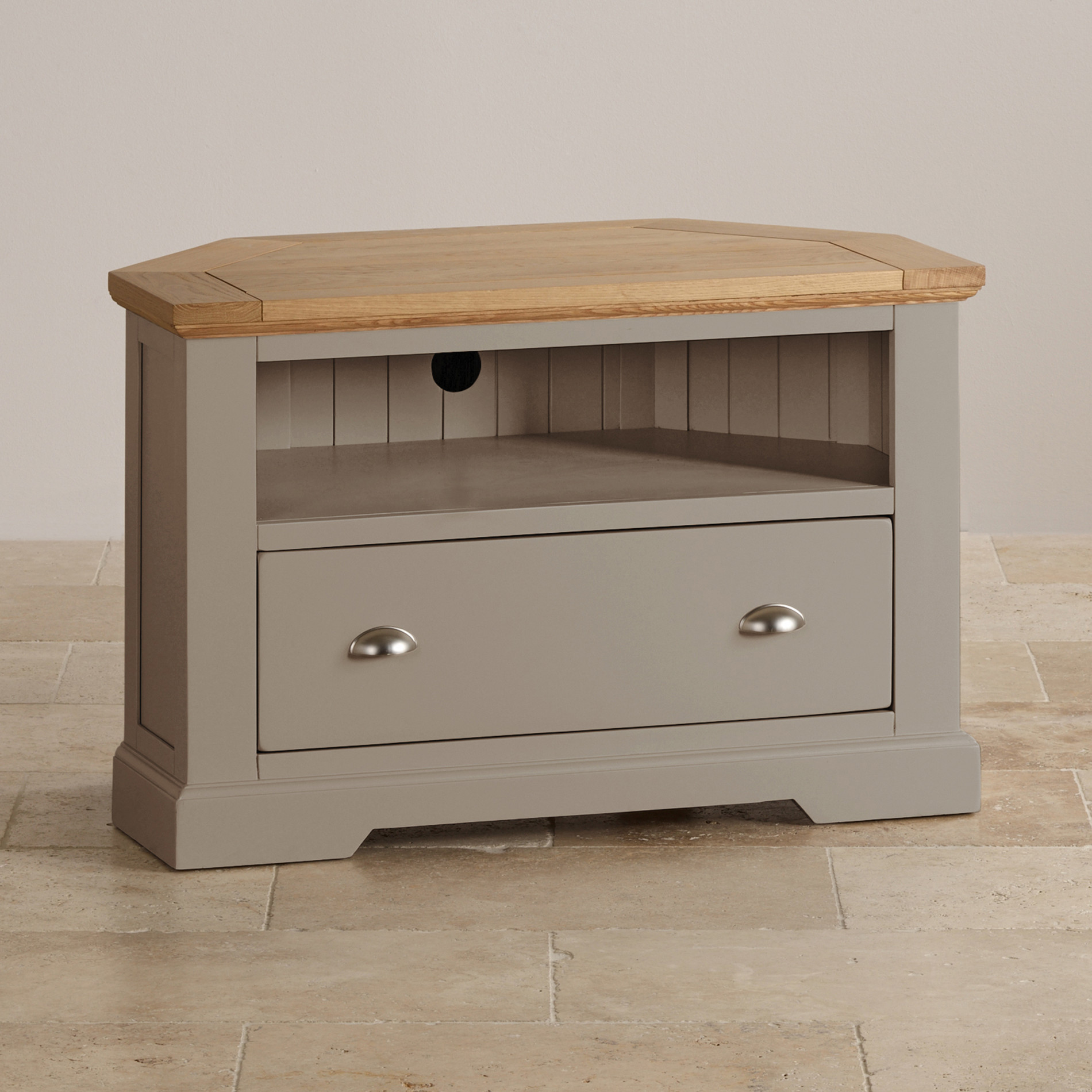 St Ives Corner TV Cabinet In Grey Painted Acacia With Oak Top