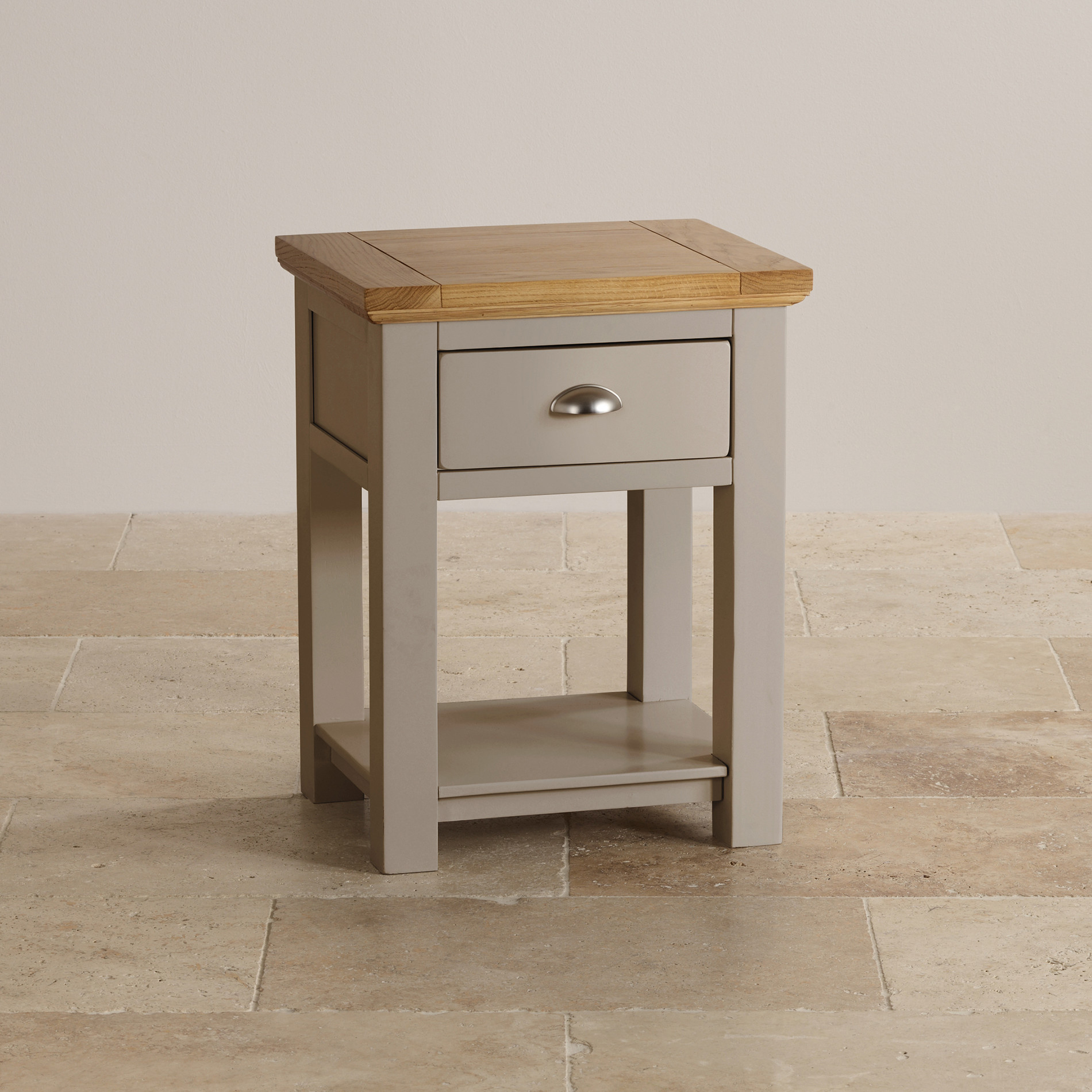 St Ives Lamp Table In Light Grey Painted Acacia With Oak Top