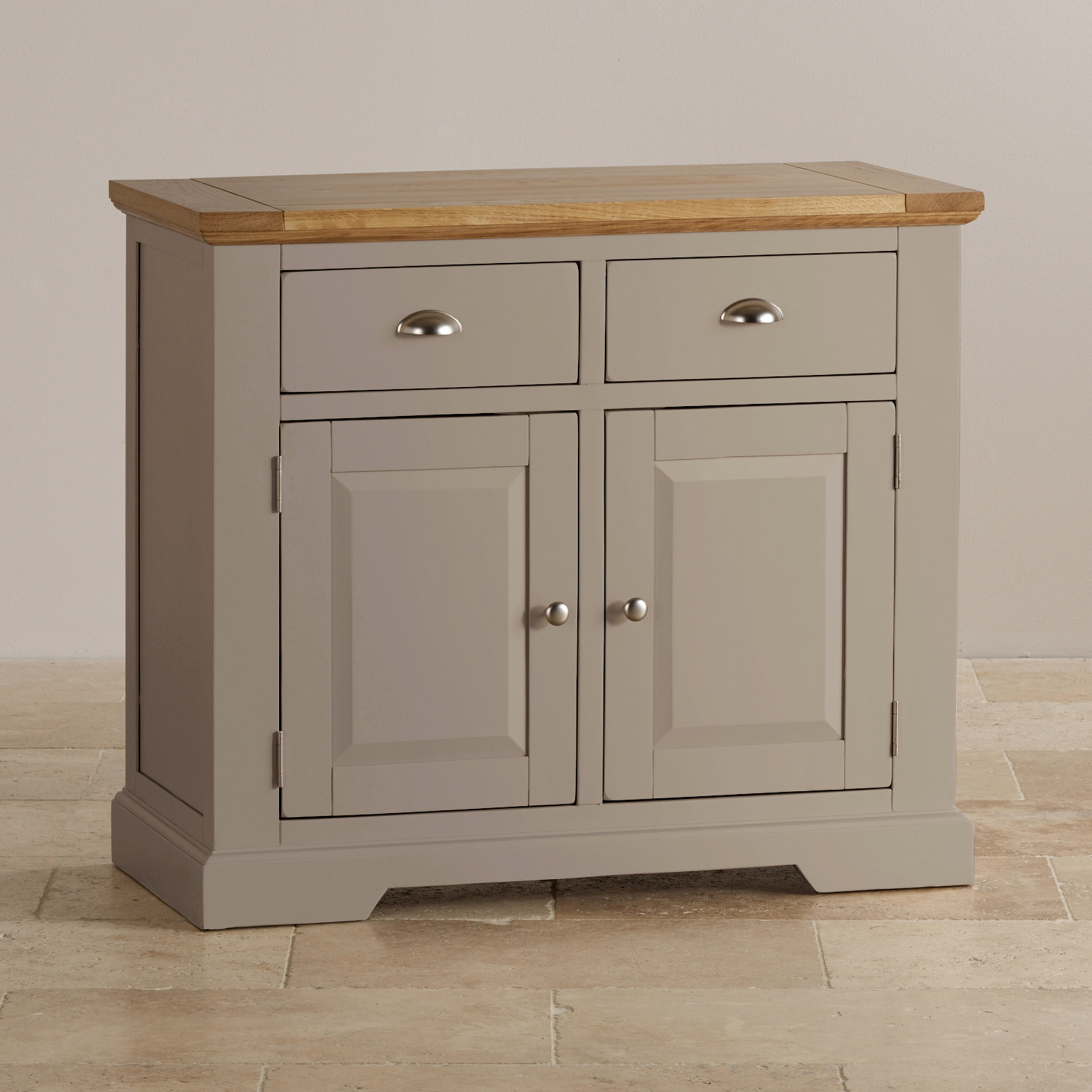 Natural oak and light grey painted small sideboard for Painted buffet sideboard