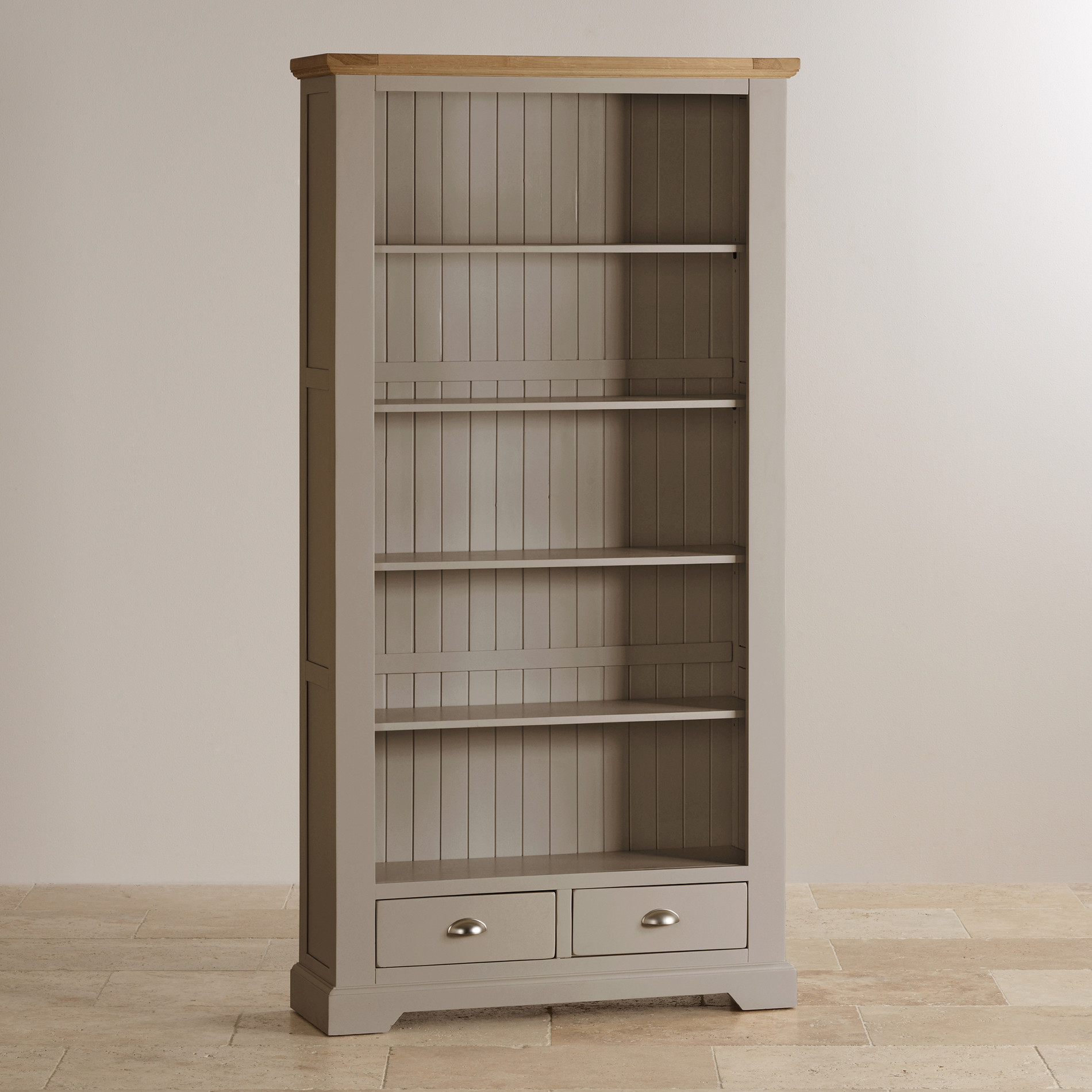 Natural Oak And Light Grey Painted Bookcase