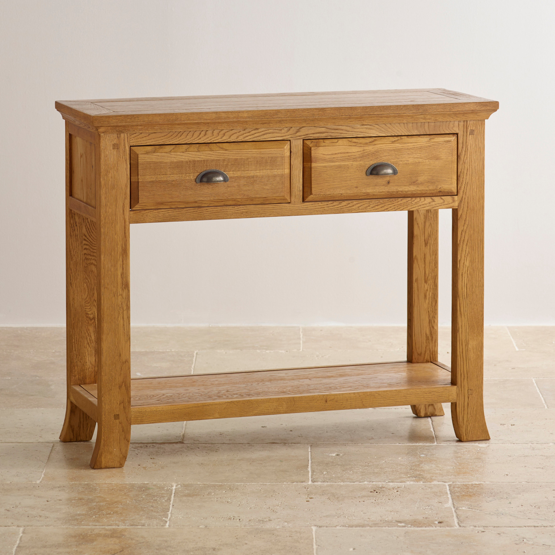 Taunton console table in rustic solid oak furniture land