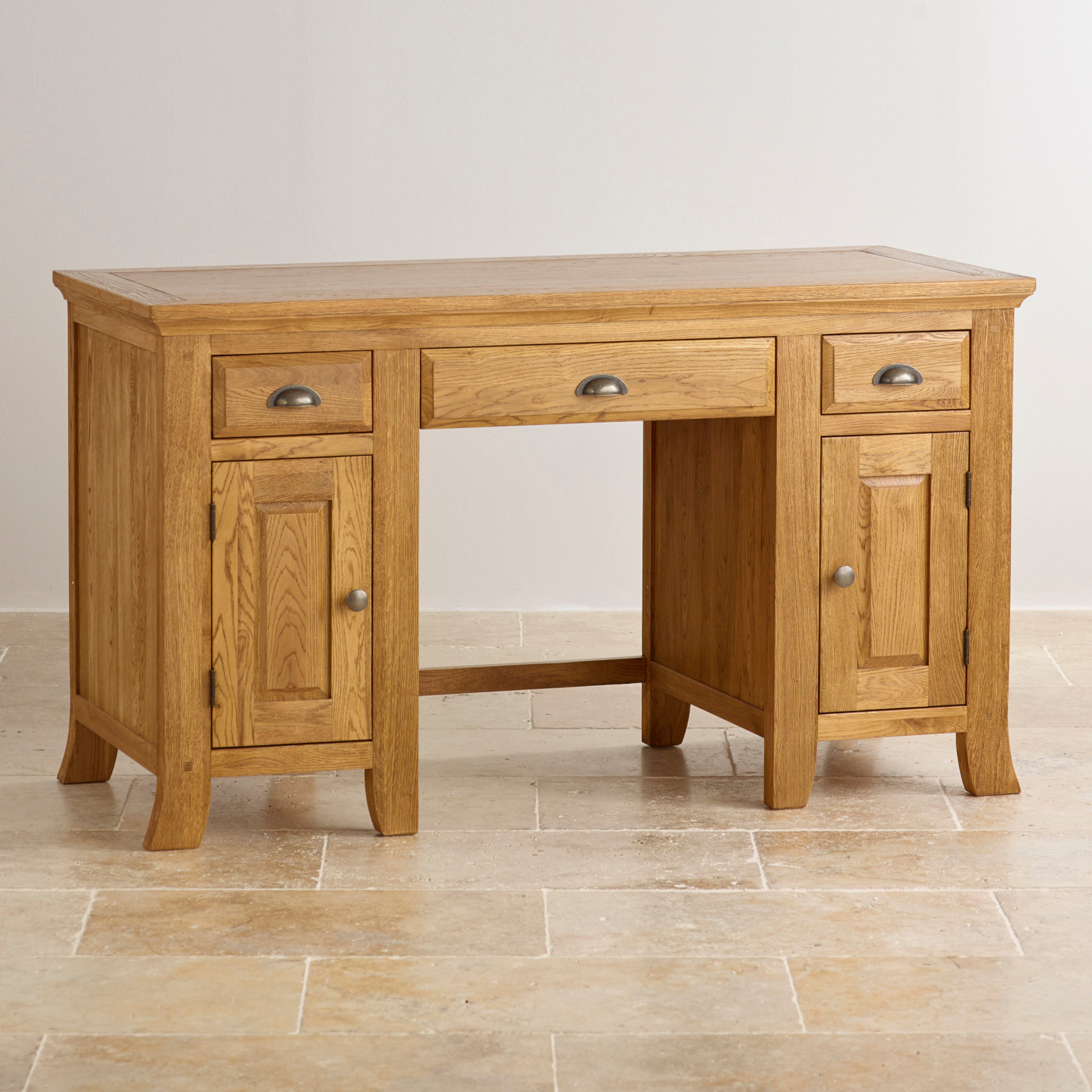 Taunton Computer Desk In Rustic Solid Oak Oak Furniture Land