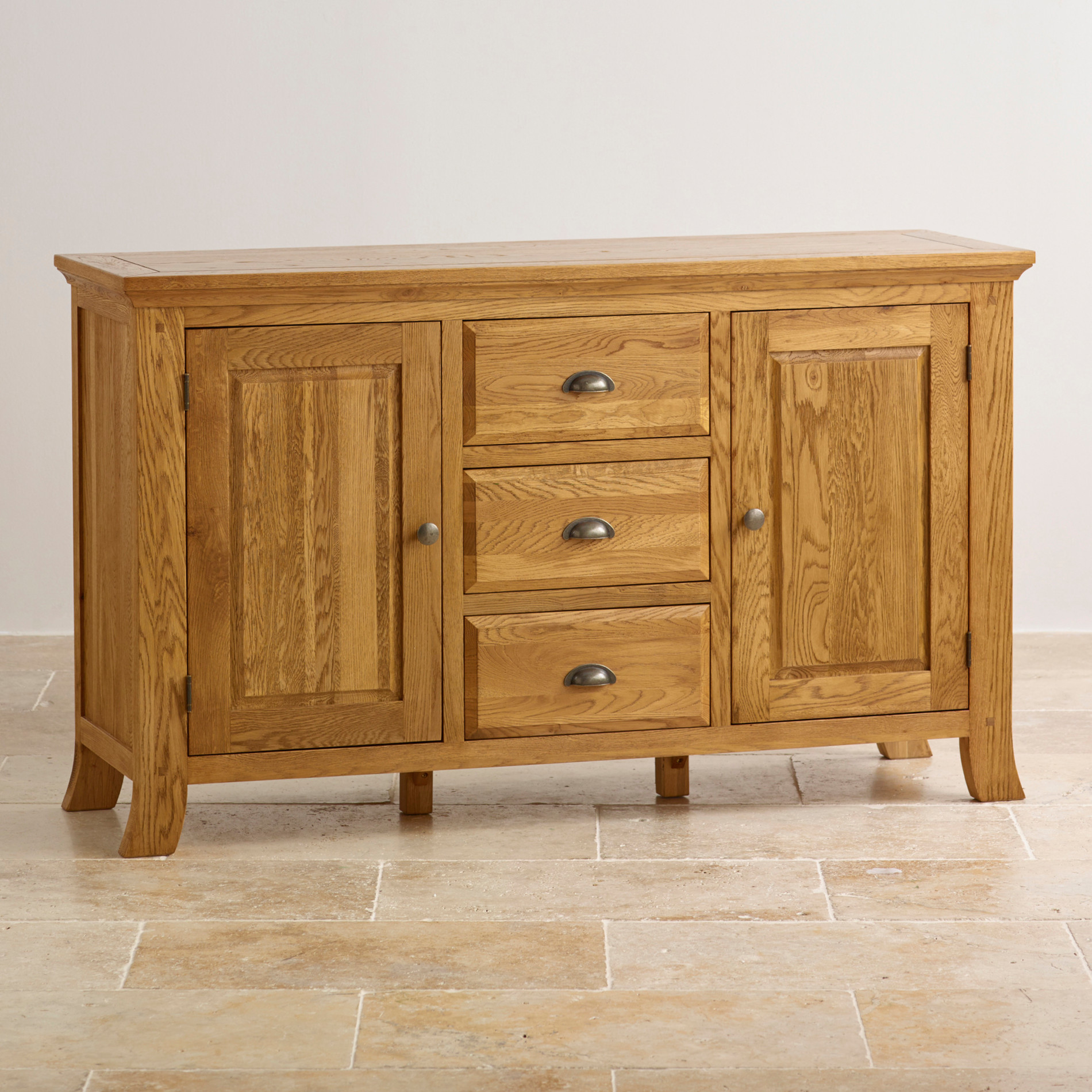 Taunton large sideboard in rustic solid oak oak for Oak furniture land