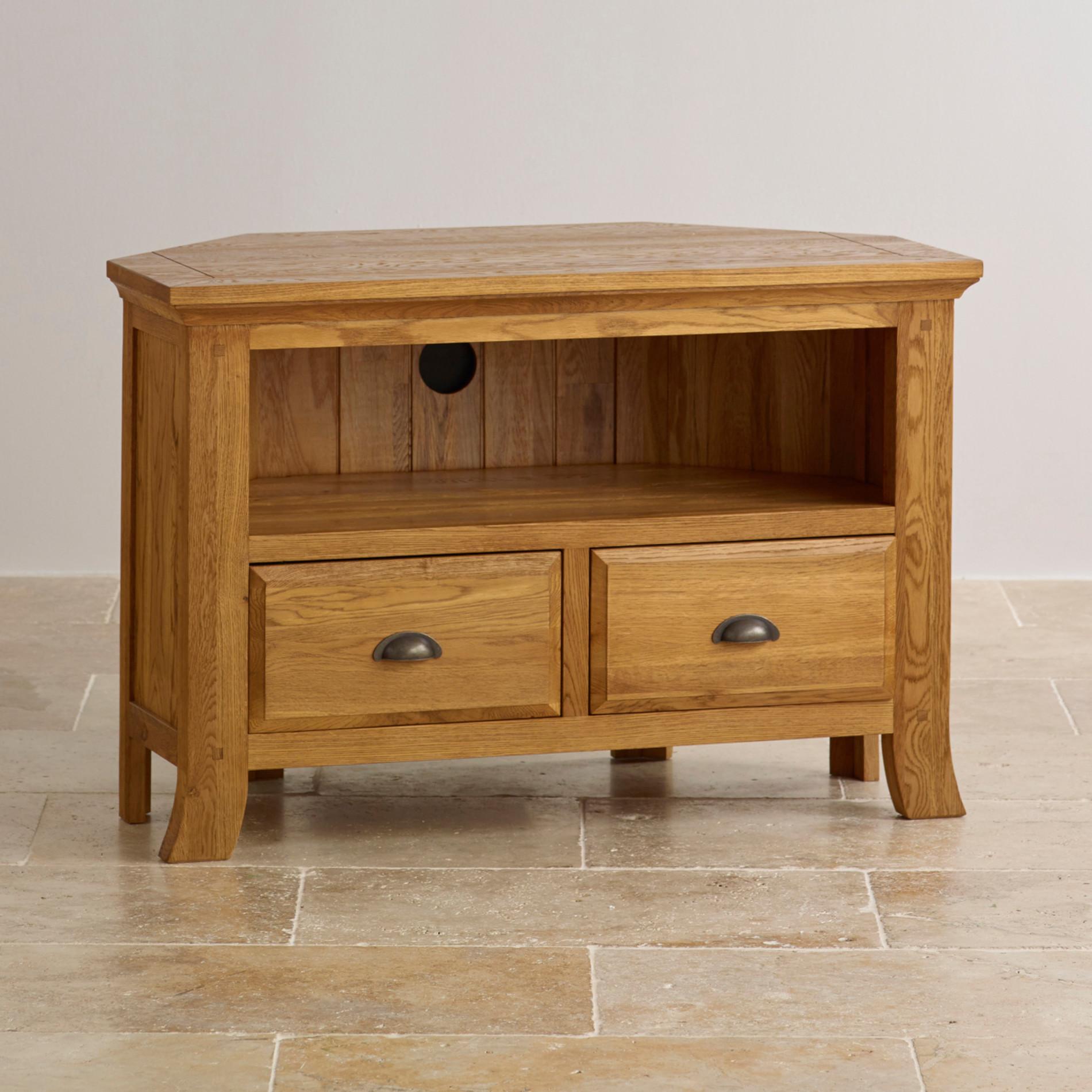 Corner tv cabinet in solid oak oak furniture land for Furniture land