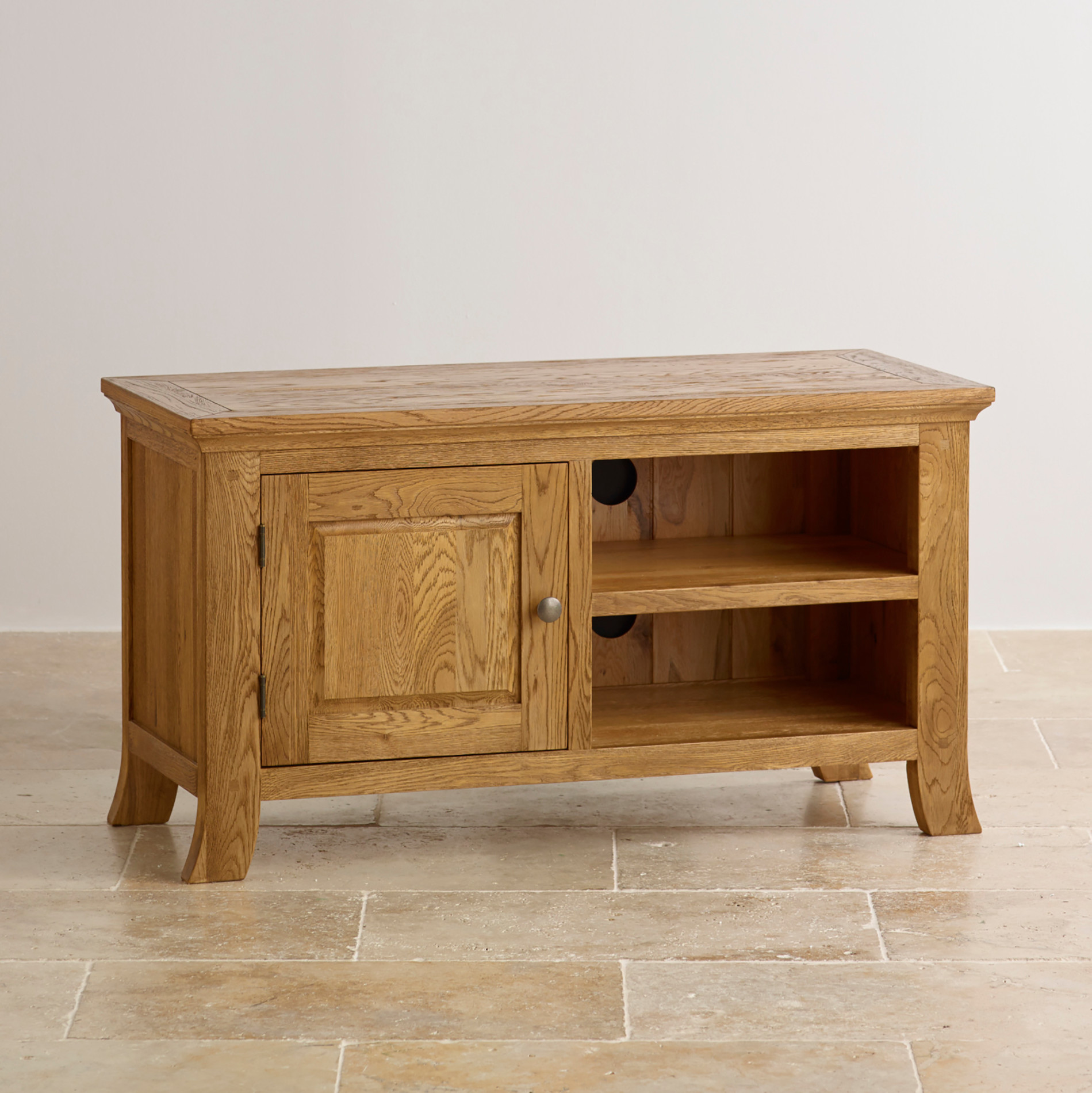 Taunton tv cabinet brushed oak oak furniture land for Oak furniture land