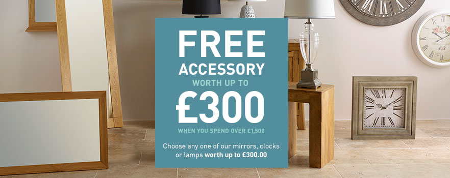 Claim your free clock, lamp or mirror when you spend over £1,500