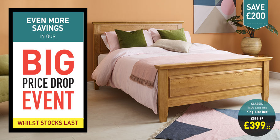 Classic Natural Solid Oak King Size Bed