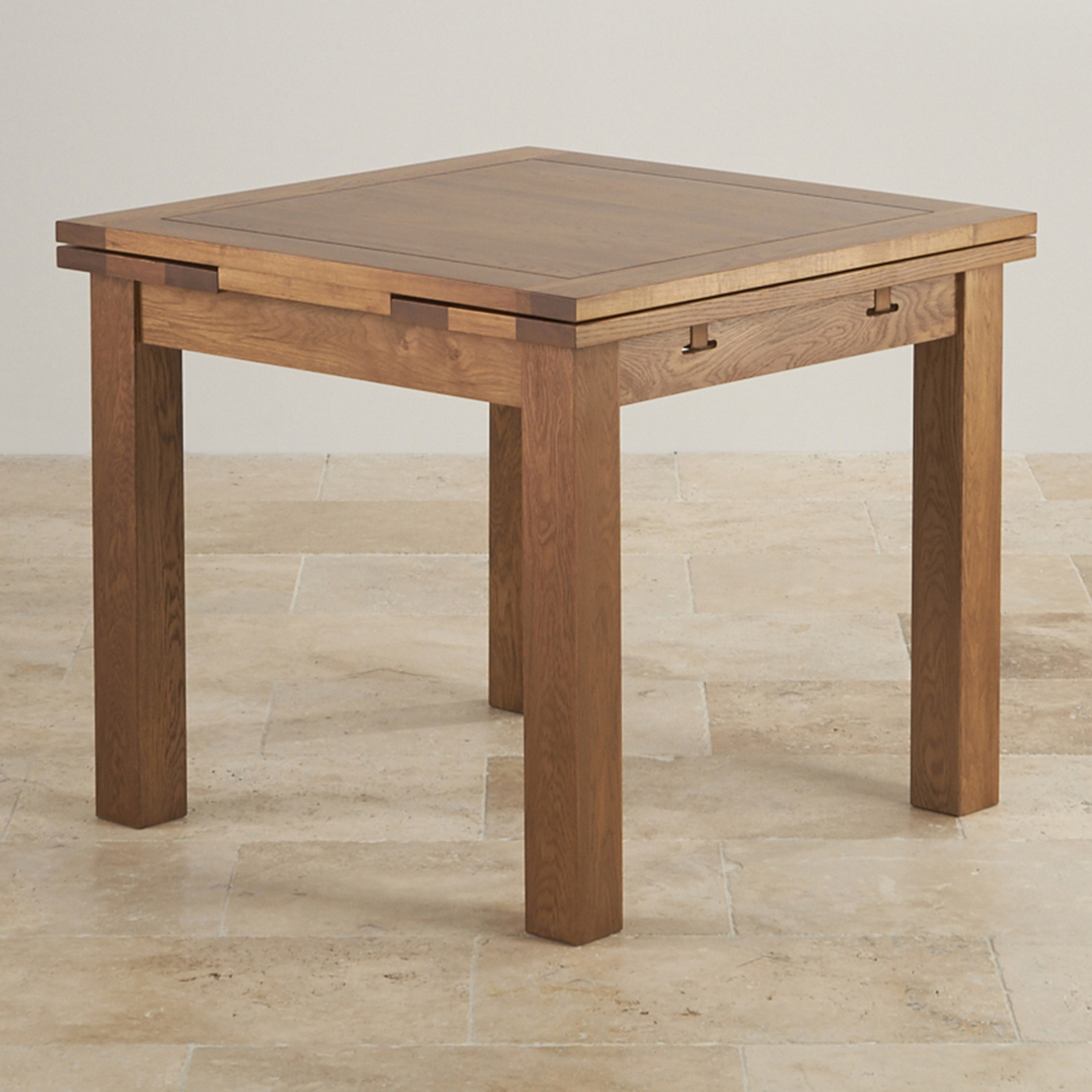 3ft x 3ft Rustic Oak Extending Dining Table | Oak Furniture Land