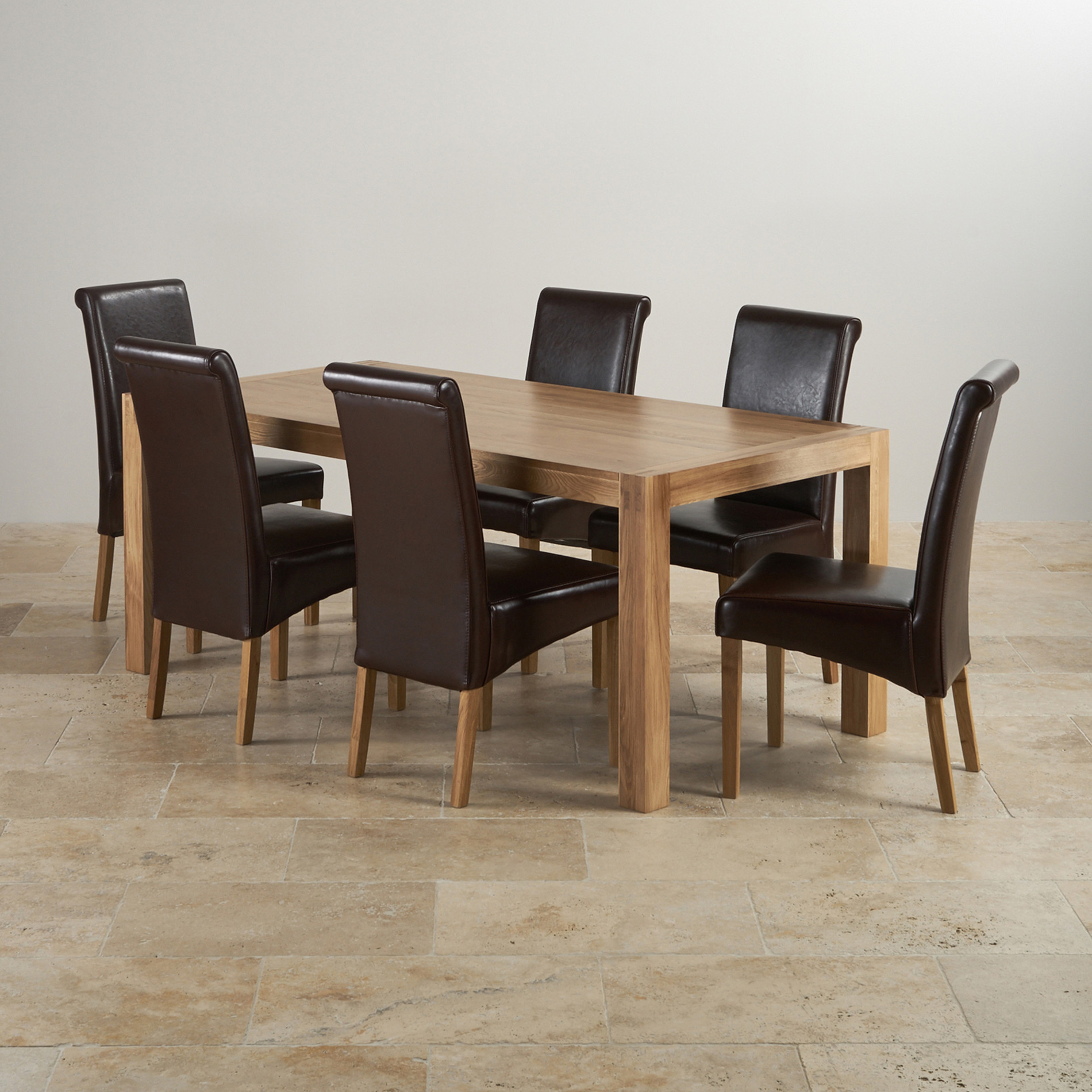 Alto Dining Set In Oak Table 6 Brown Leather Chairs