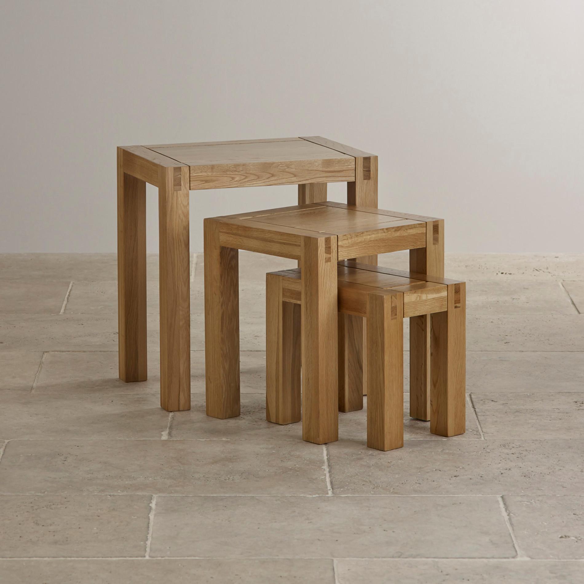 alto solid oak nest of tables living room furniture. Black Bedroom Furniture Sets. Home Design Ideas