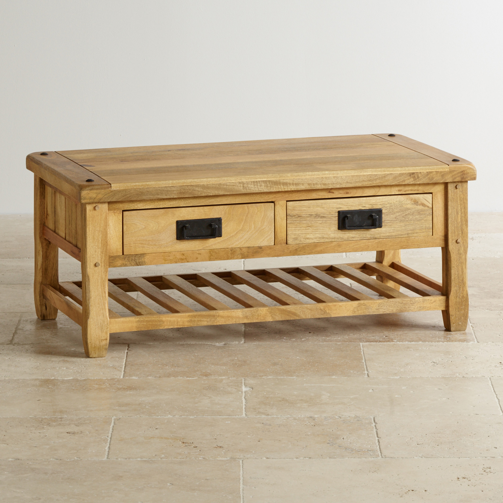 Baku Light Coffee Table with 4 Drawers in Natural Solid Mango