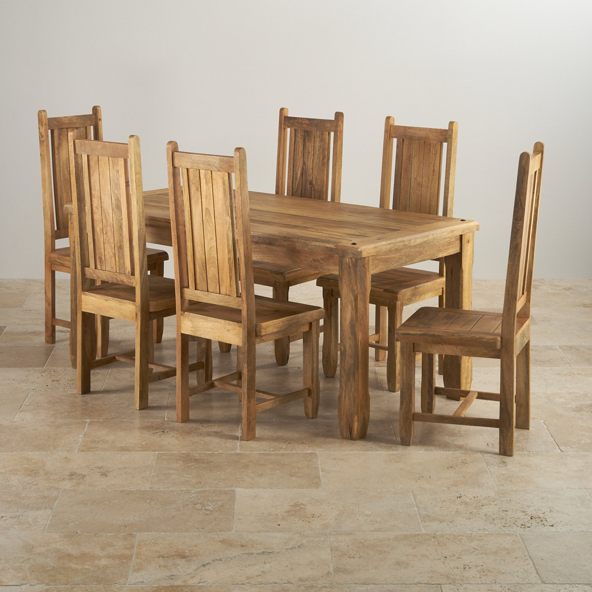 Baku Light Dining Table In Natural Mango + 6 Mango Chairs
