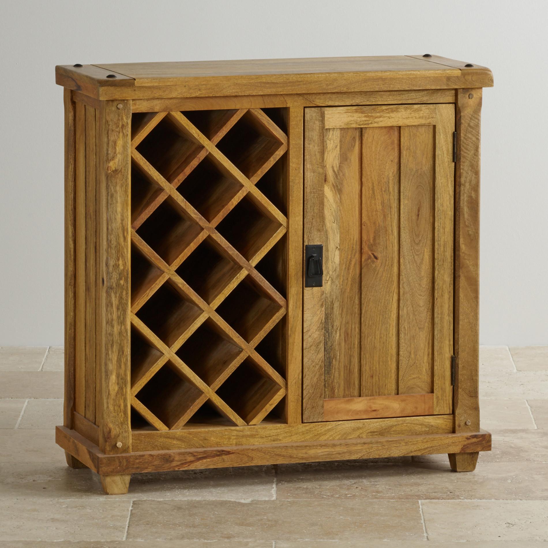 Baku Light Wine Cabinet in Natural Solid Mango