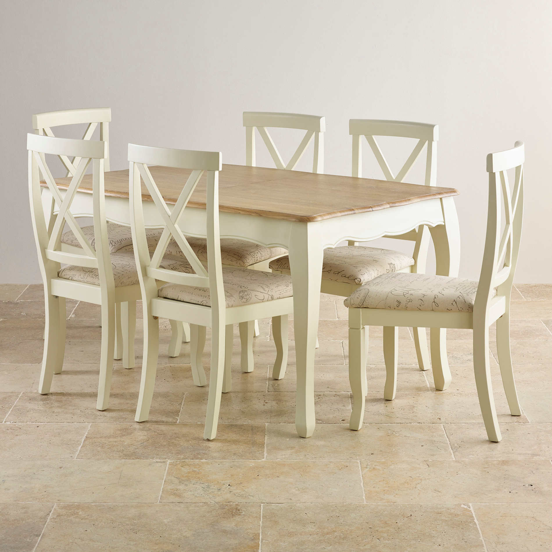 3ft Table With 4 Beige Chairs: Bella Painted Oak Extending Dining Table + 6 Script Beige