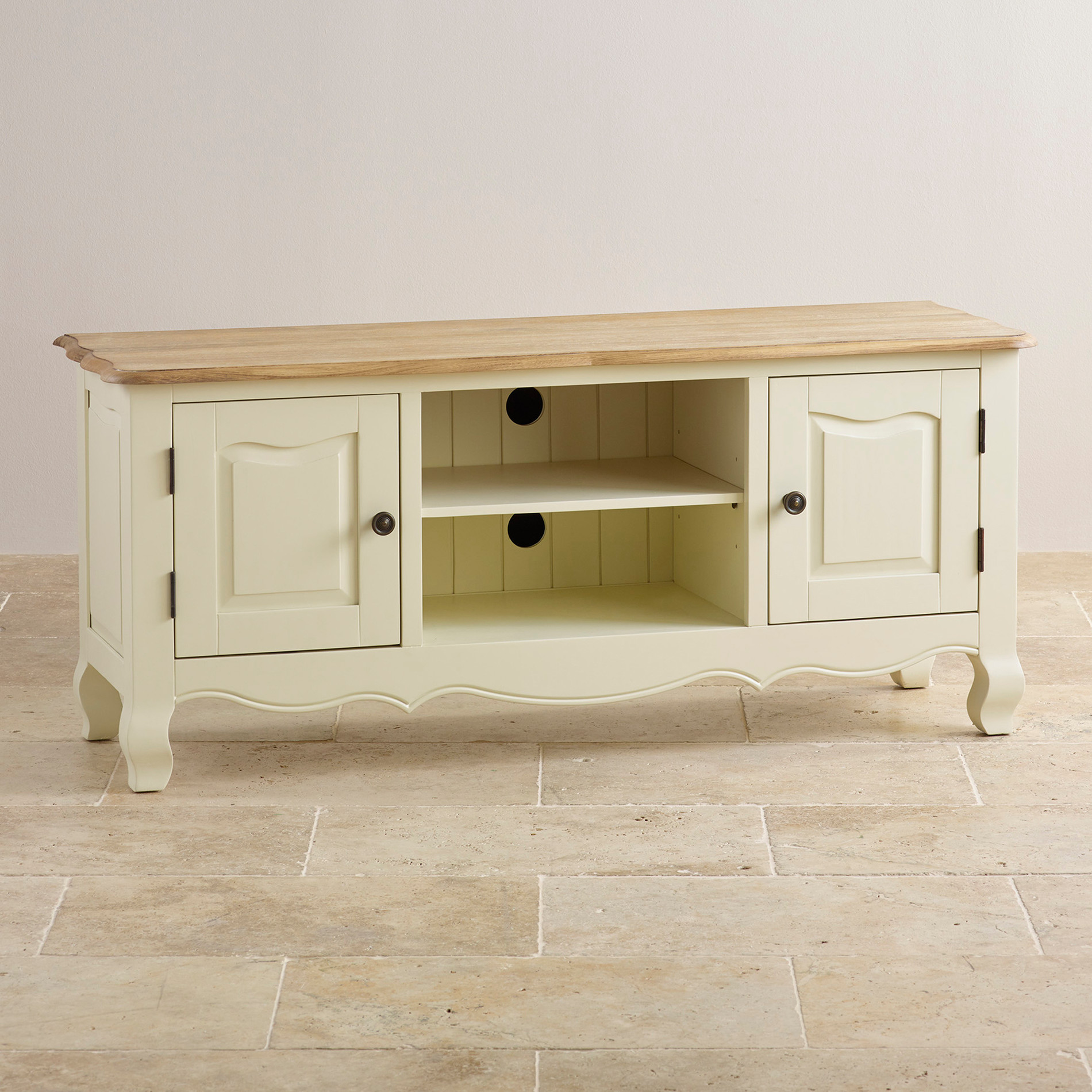 Bella Painted TV Cabinet in Brushed Oak