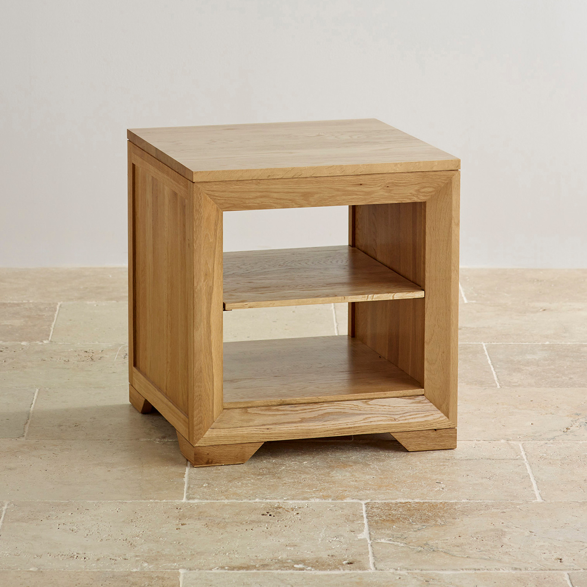 Bevel Bedside Table with Shelf in Natural Solid Oak