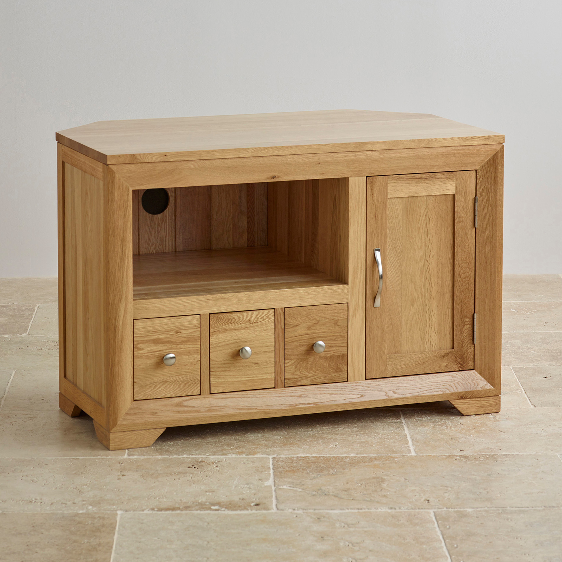 Bevel Small Corner Tv Cabinet In Solid Oak Oak Furniture