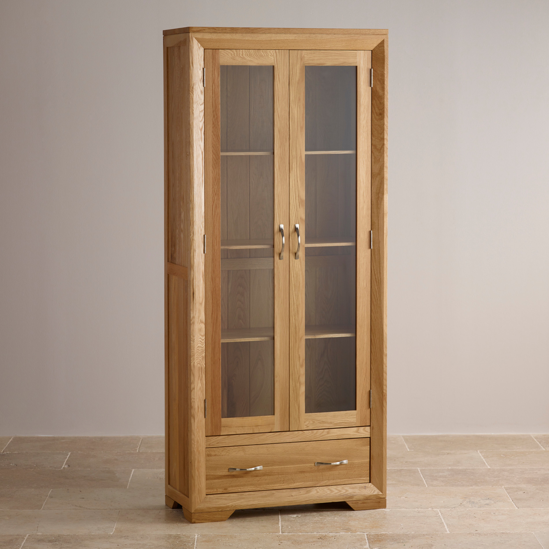 Dining Room Sets For Less Bevel Glazed Display Cabinet In Solid Oak Oak Furniture Land