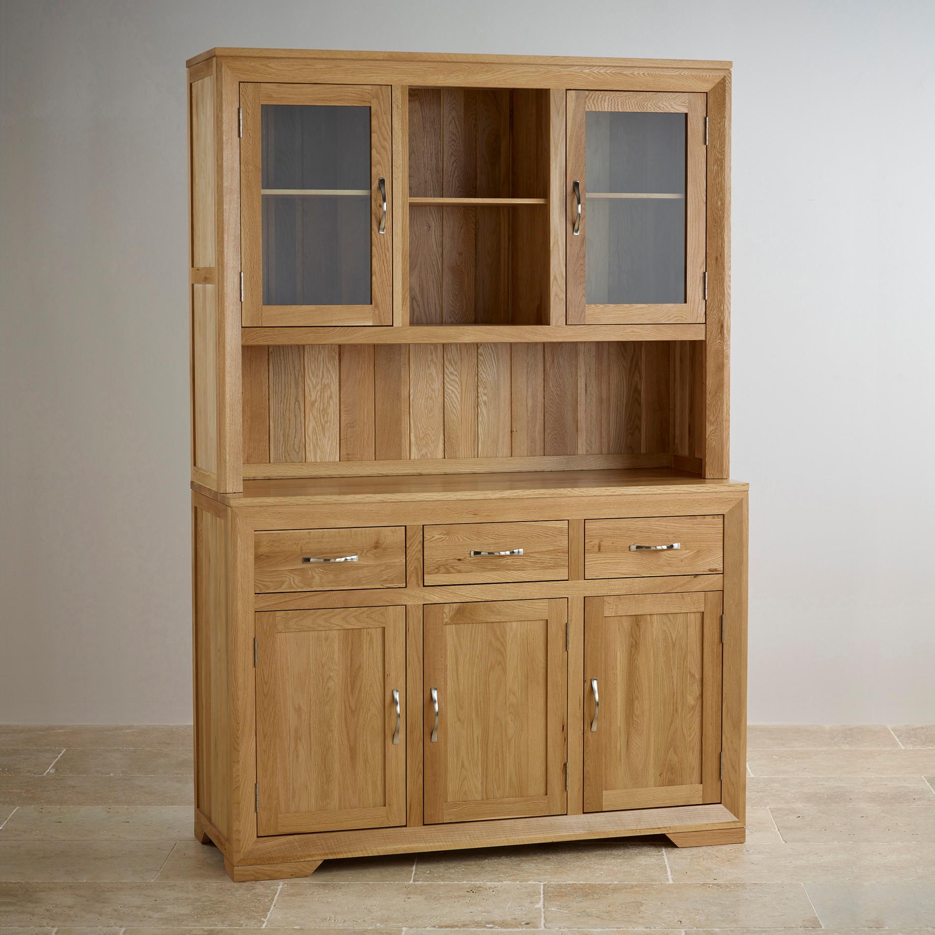 Bevel large welsh dresser in solid oak oak furniture land for Oak bedroom furniture 0 finance