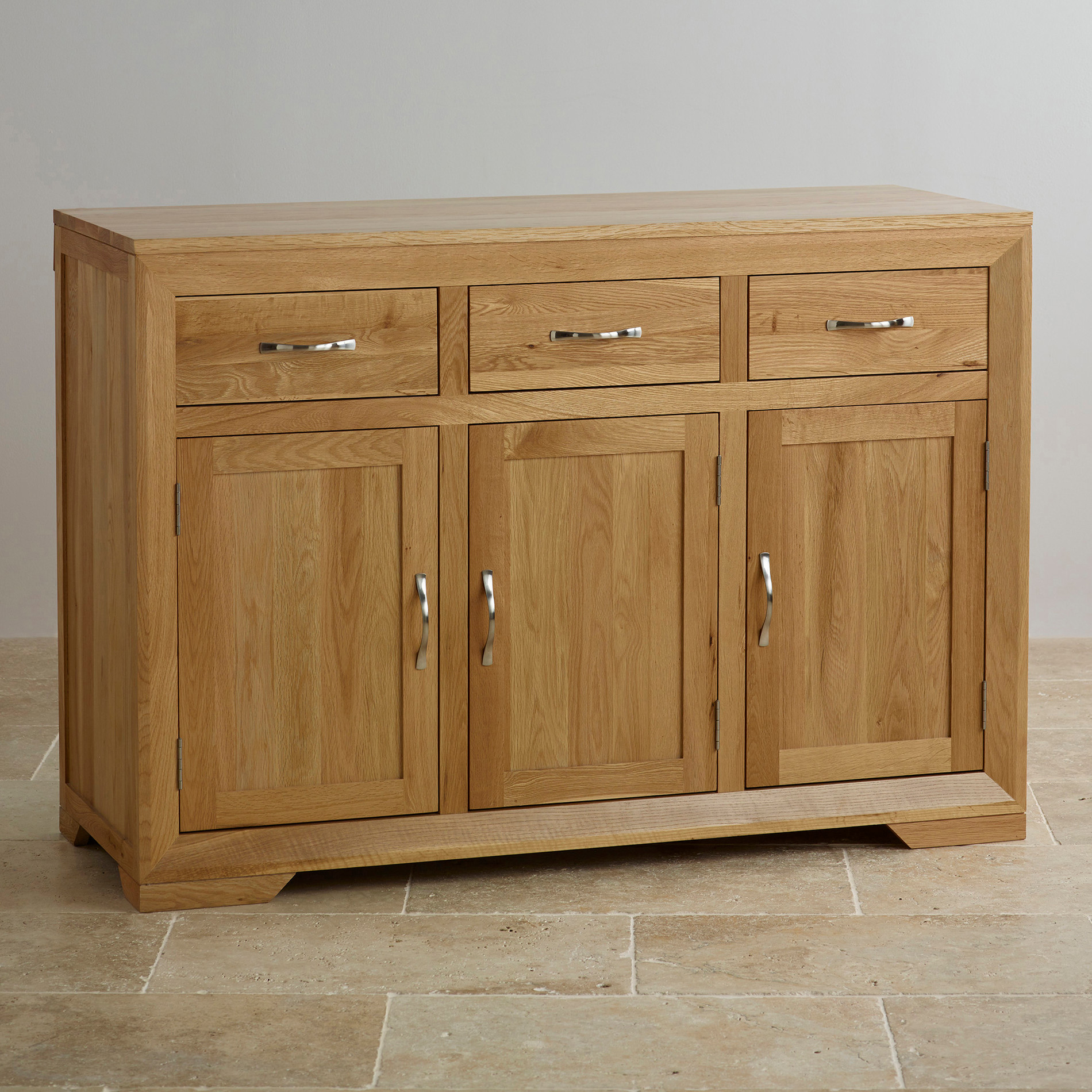 Bevel Natural Solid Oak Large Sideboard Oak Furniture Land