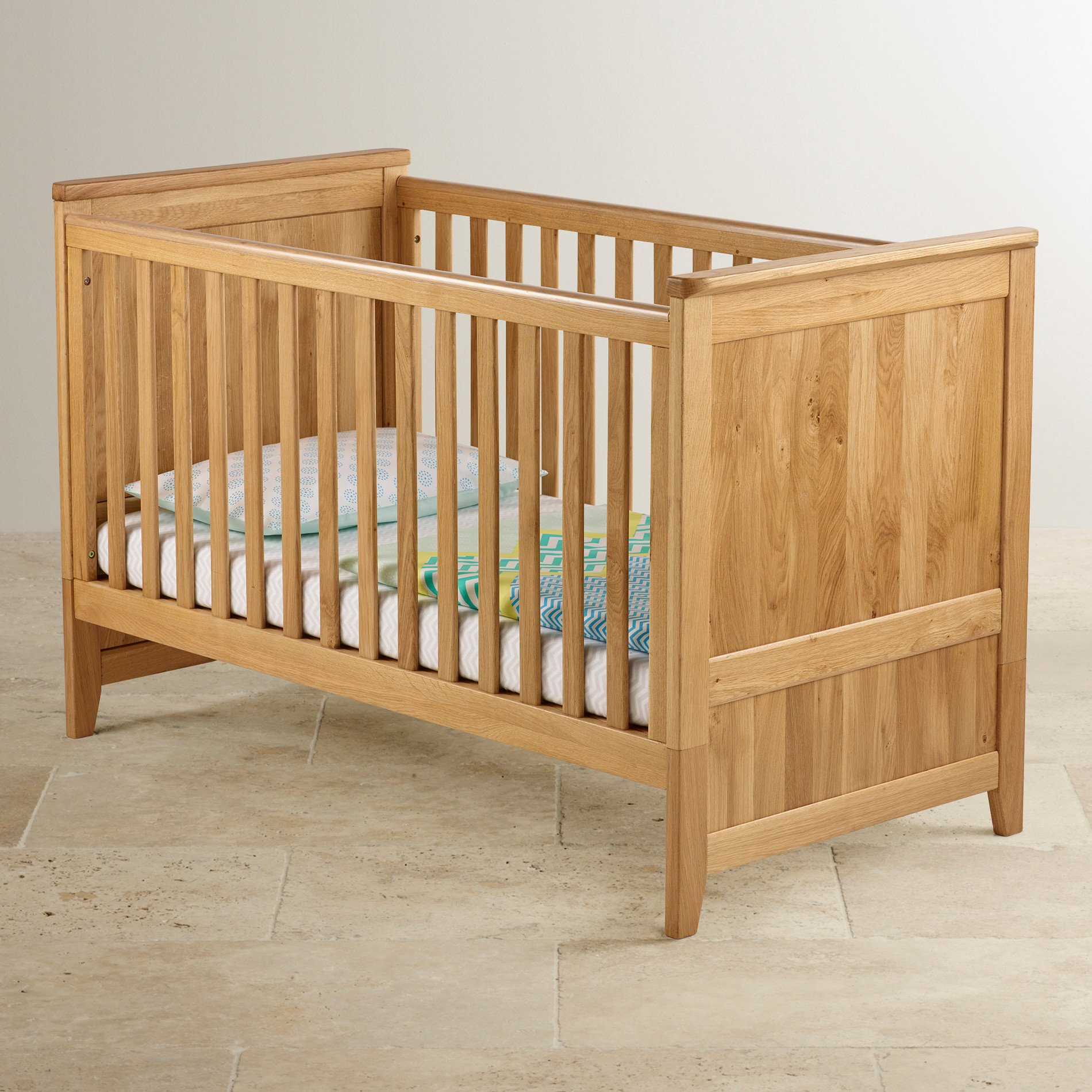 Bevel 3 In 1 Cot Bed In Natural Solid Oak Oak Furniture Land