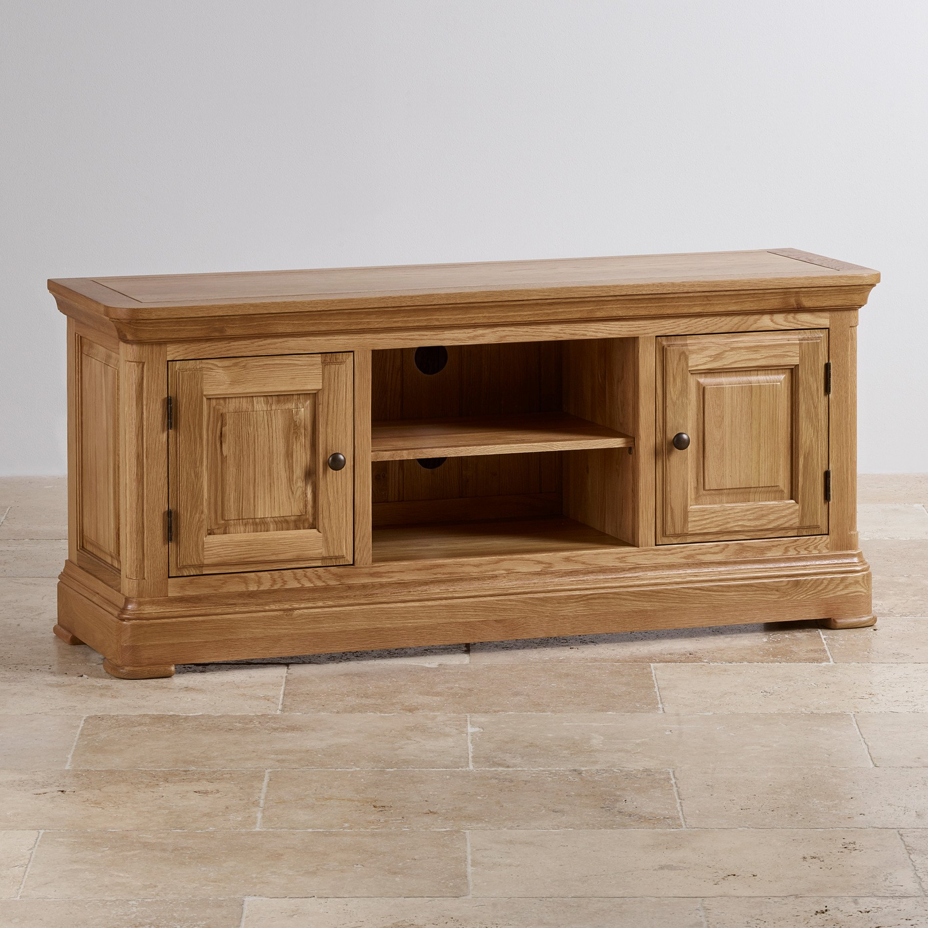 Tv cabinets units 100 solid oak oak furniture land canterbury natural solid oak large tv cabinet geotapseo Image collections