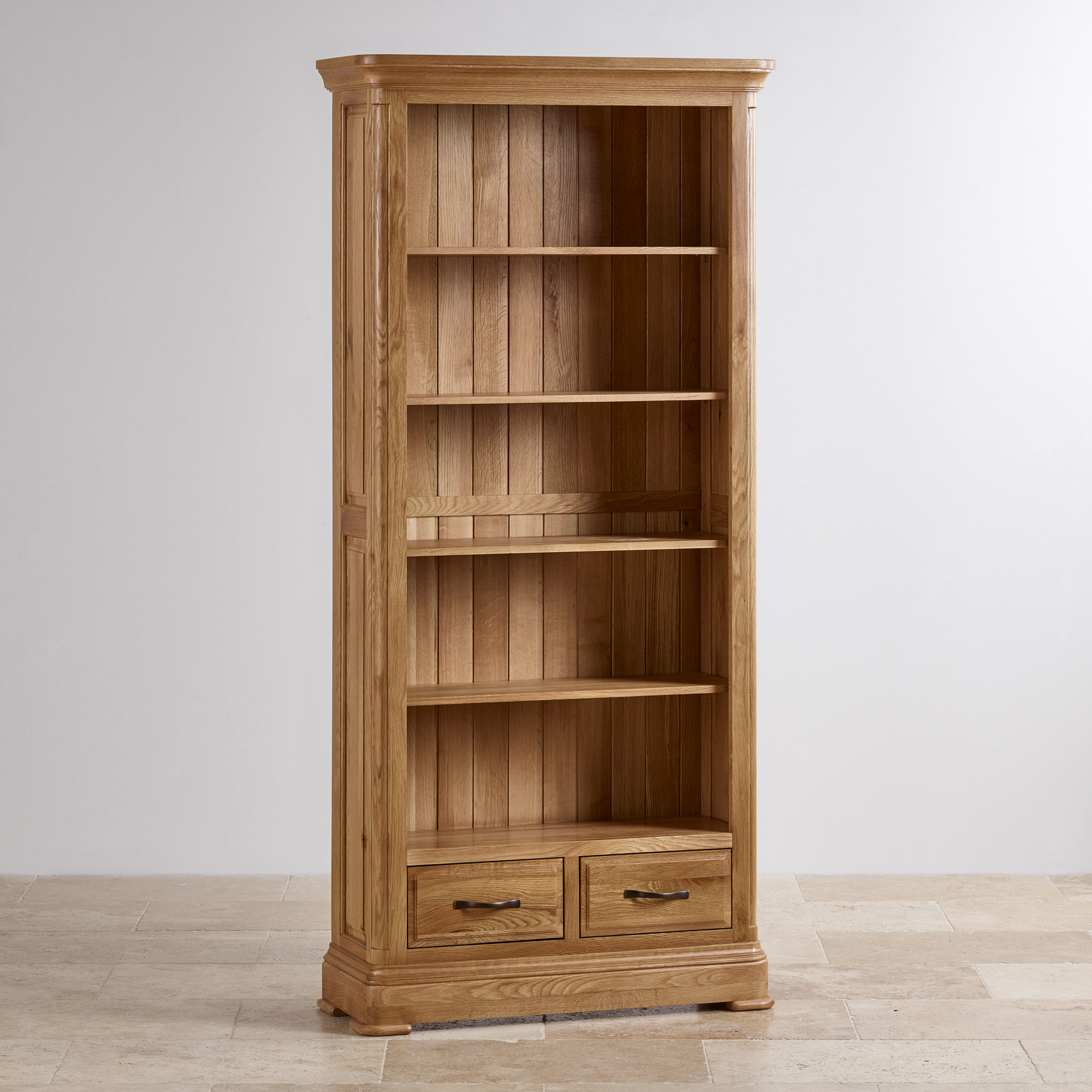Natural solid oak tall bookcase furniture land