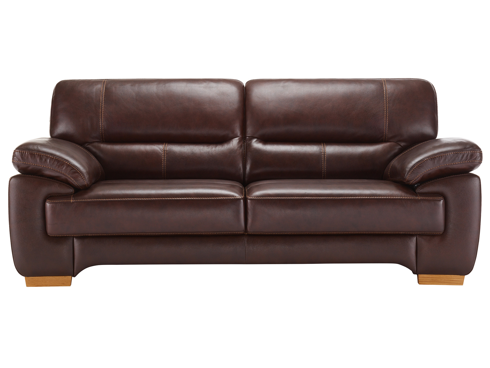 clayton 3 seater sofa in brown leather oak furniture land. Black Bedroom Furniture Sets. Home Design Ideas