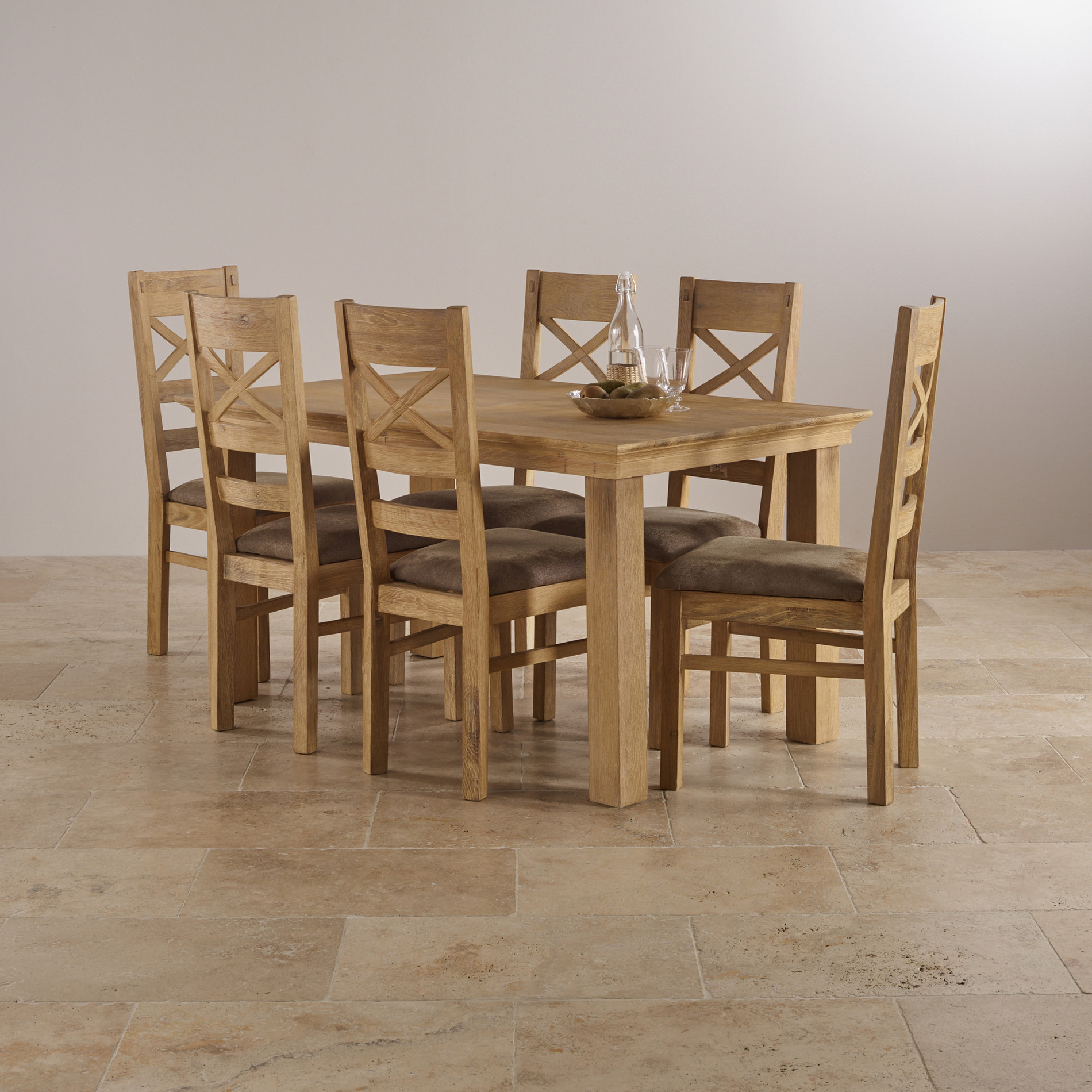 Costal extending dining set in oak table 6 chairs for Dining table and 6 chairs