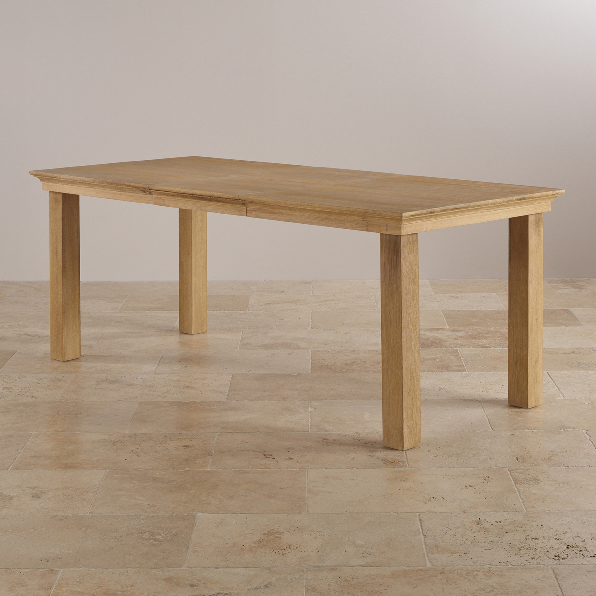 Express Delivery Coastal French Washed Solid Oak 5ft X 3ft Extending Dining  Table