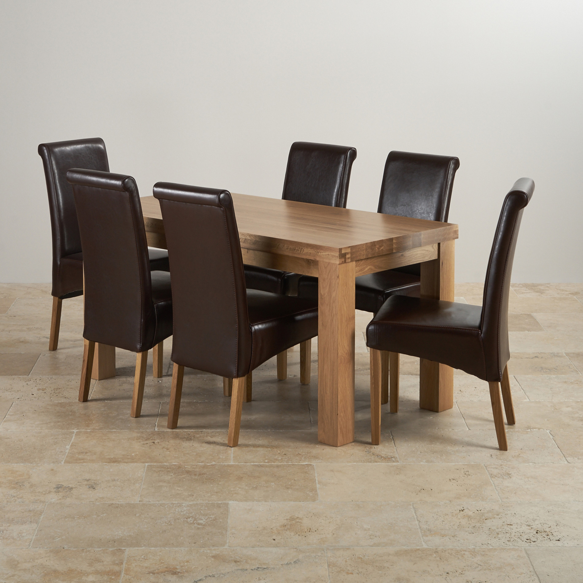 Contemporary dining set in oak table 6 brown leather chairs for Contemporary dining set
