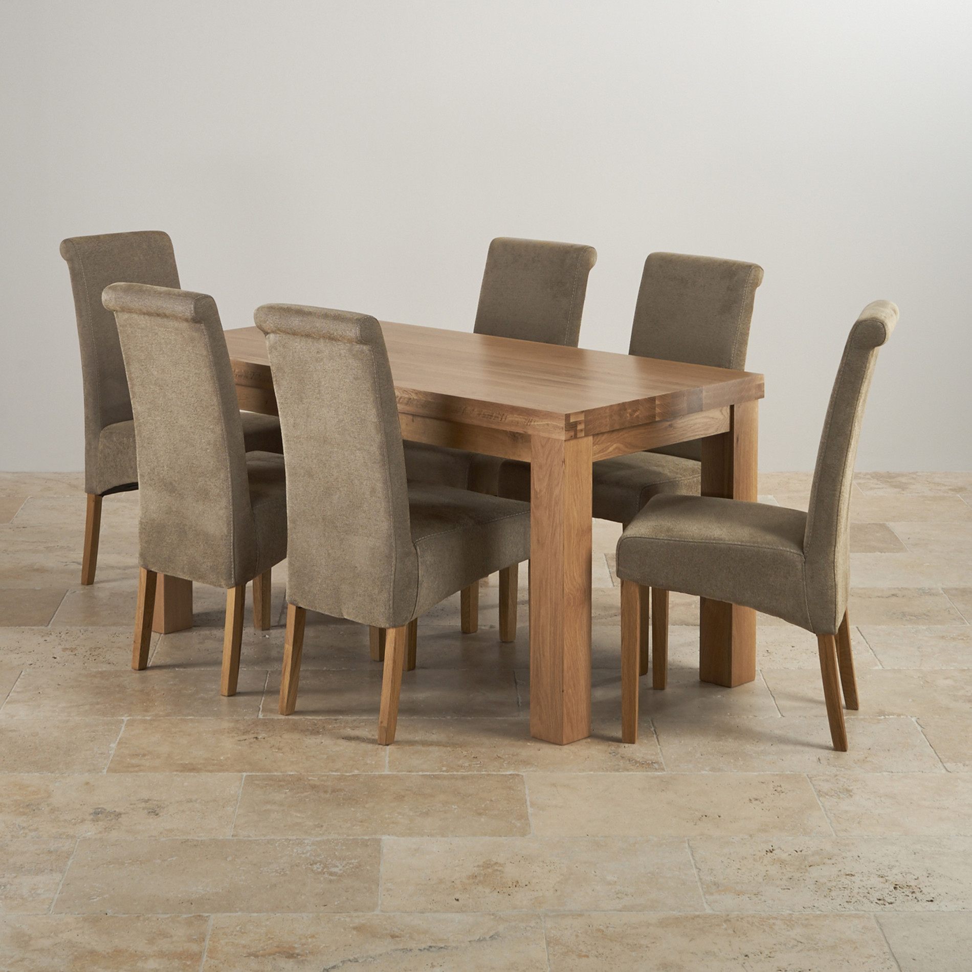 Contemporary 5ft Dining Table In Solid Oak & 6 Scroll Back