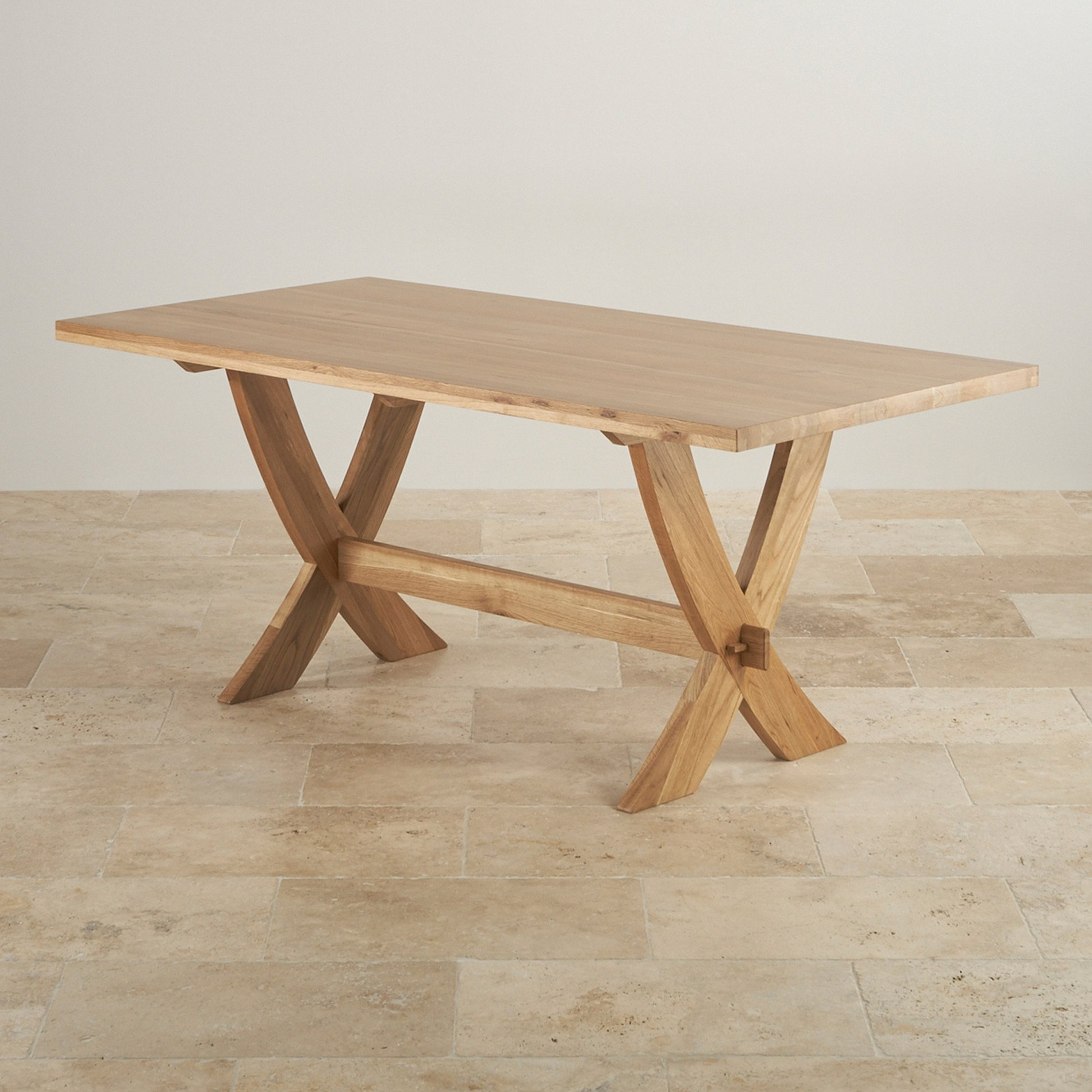 Crossley Natural Solid Oak Crossed Leg Dining Table