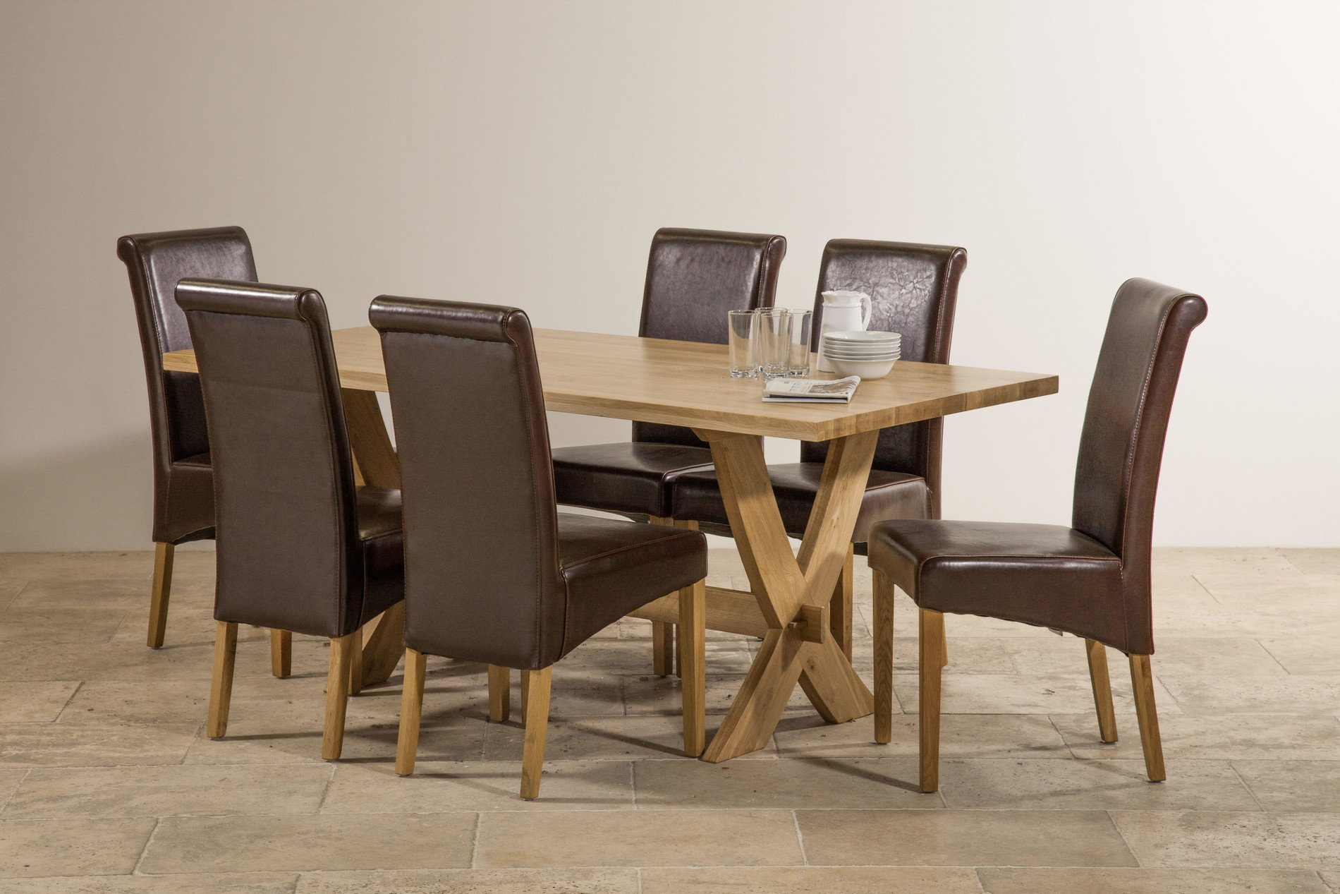 Crossley Solid Oak Dining Set In Oak Table 6 Leather
