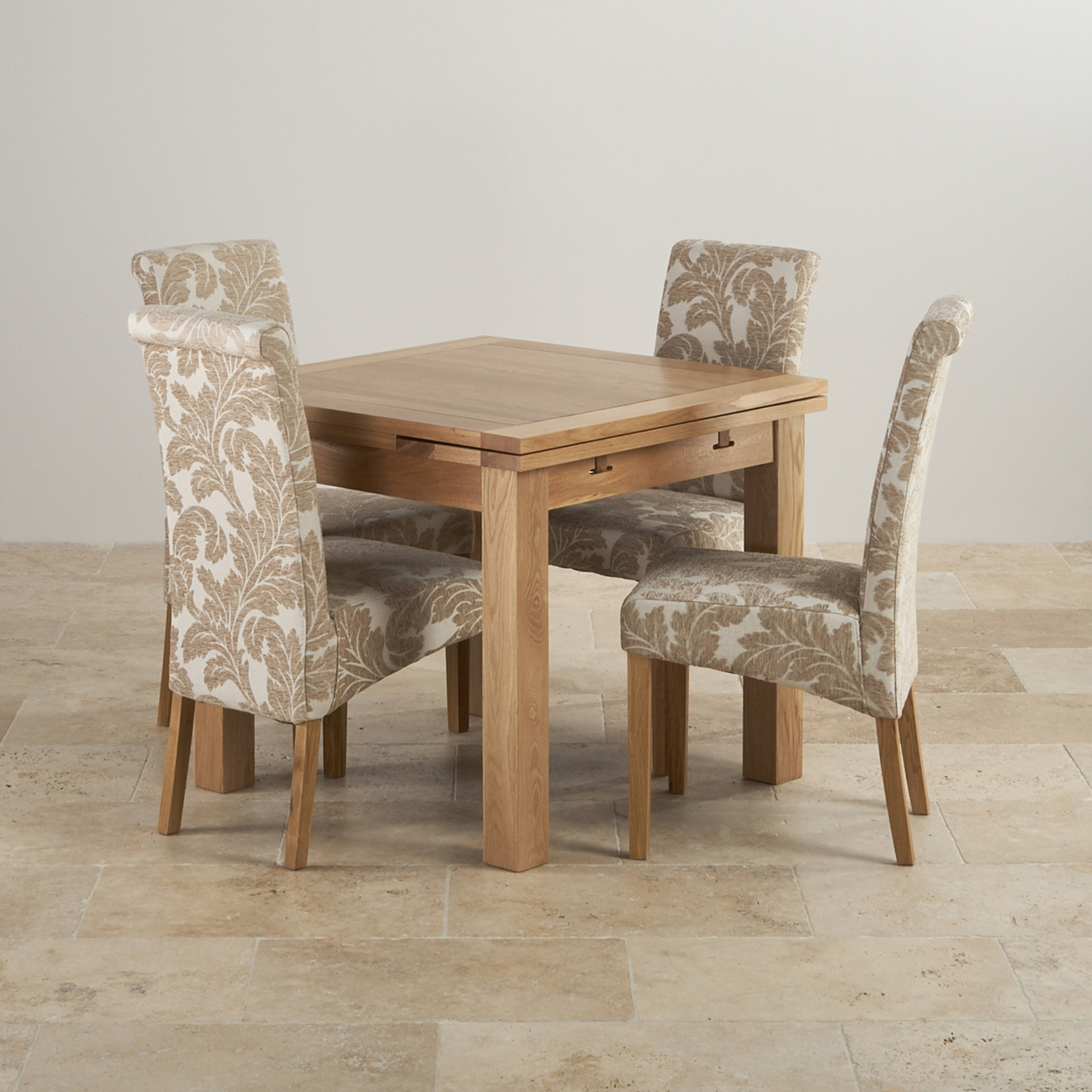 Oak Dining Room Furniture: 3ft Table With 4 Beige Chairs