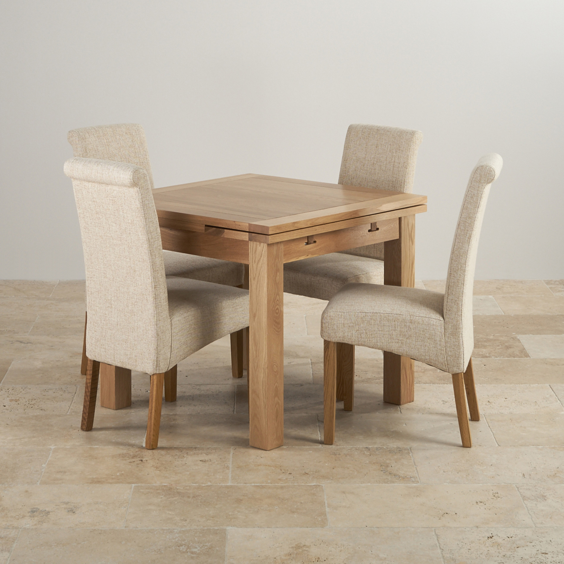 Dorset oak 3ft dining table with 4 beige fabric chairs for Solid oak dining table