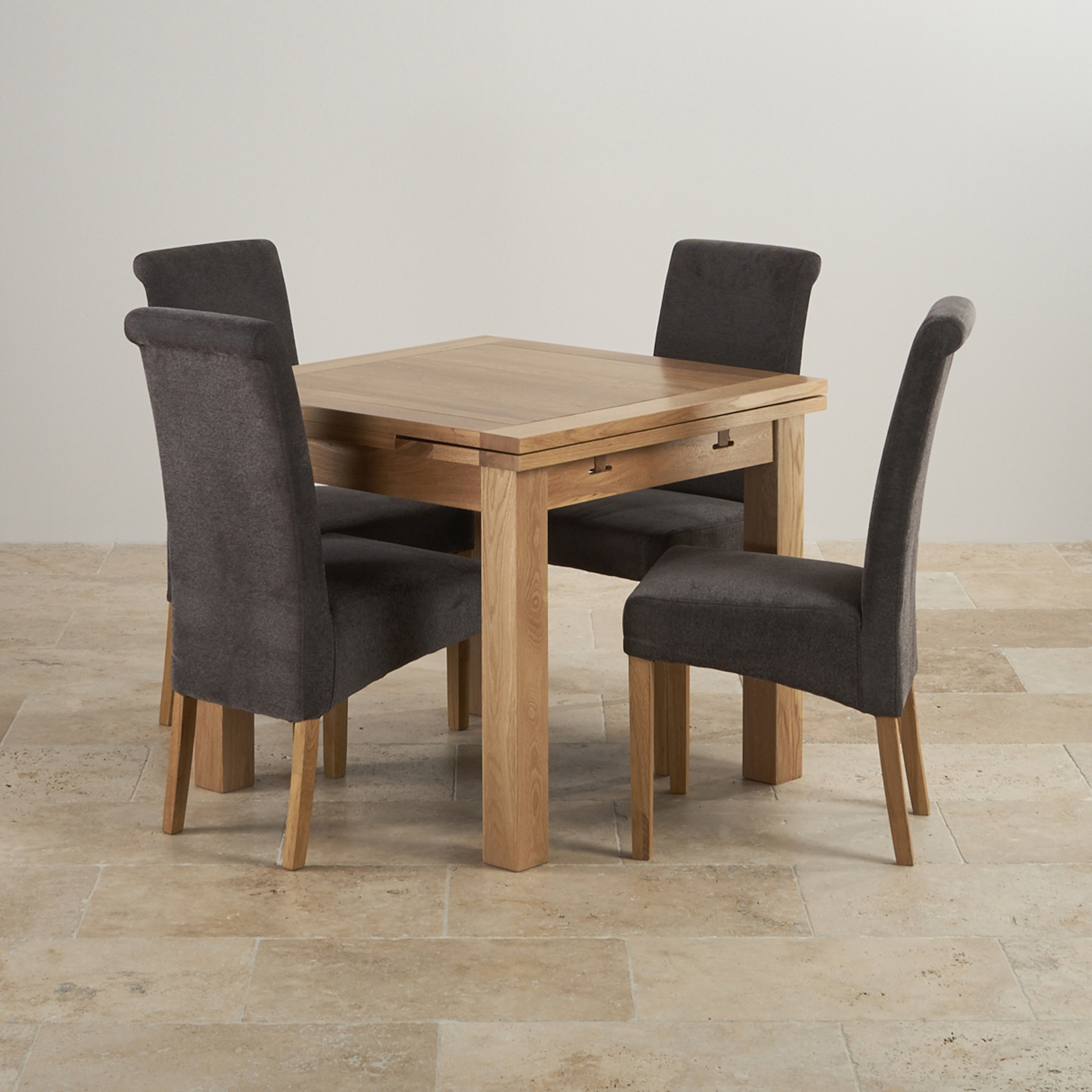 Express Delivery Dorset Natural Solid Oak 3ft Extending Table With 4 Scroll  Back Plain Charcoal Fabric Chairs