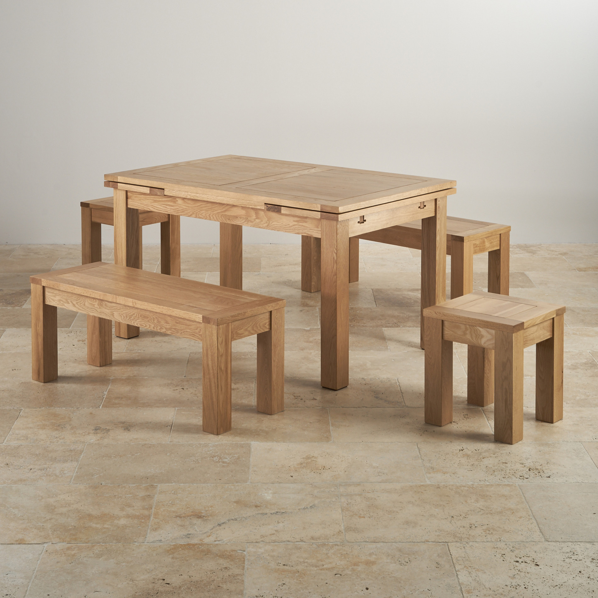 Dorset Oak 4ft 7 Quot Dining Table With 2 Benches Amp 2 Stools