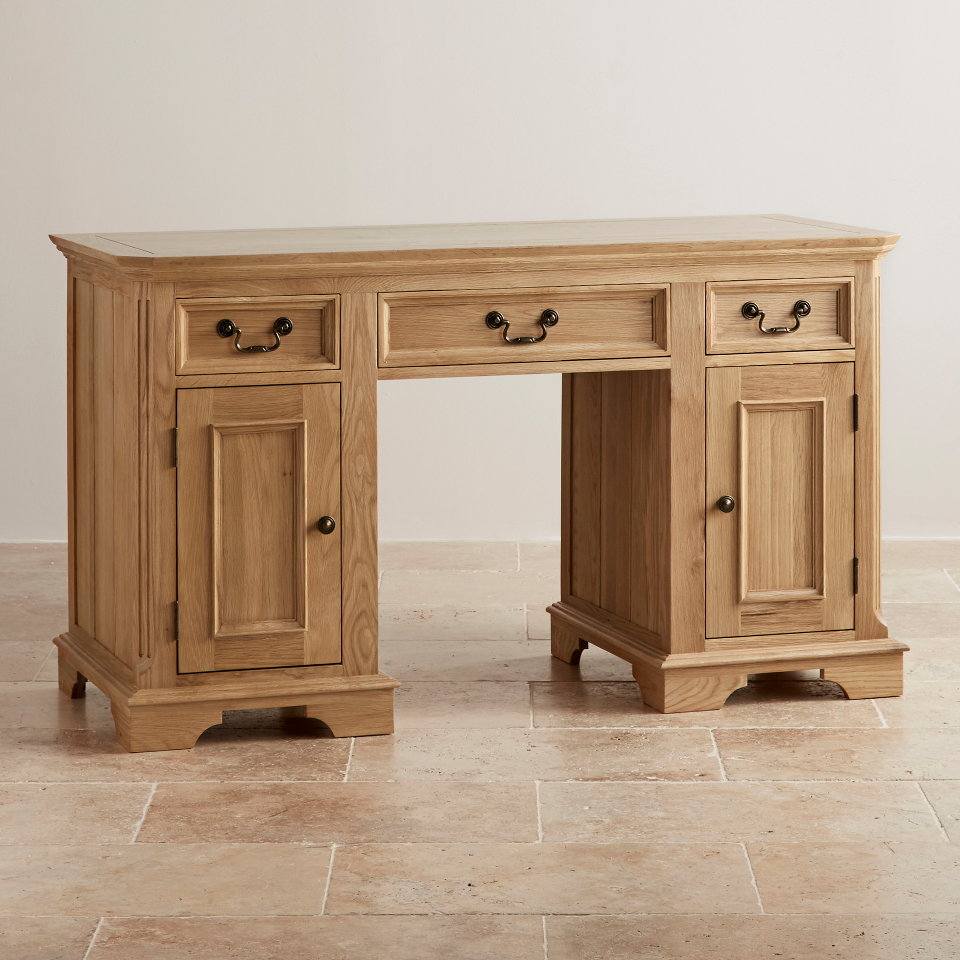 Edinburgh Natural Solid Oak Computer Desk By Oak Furniture