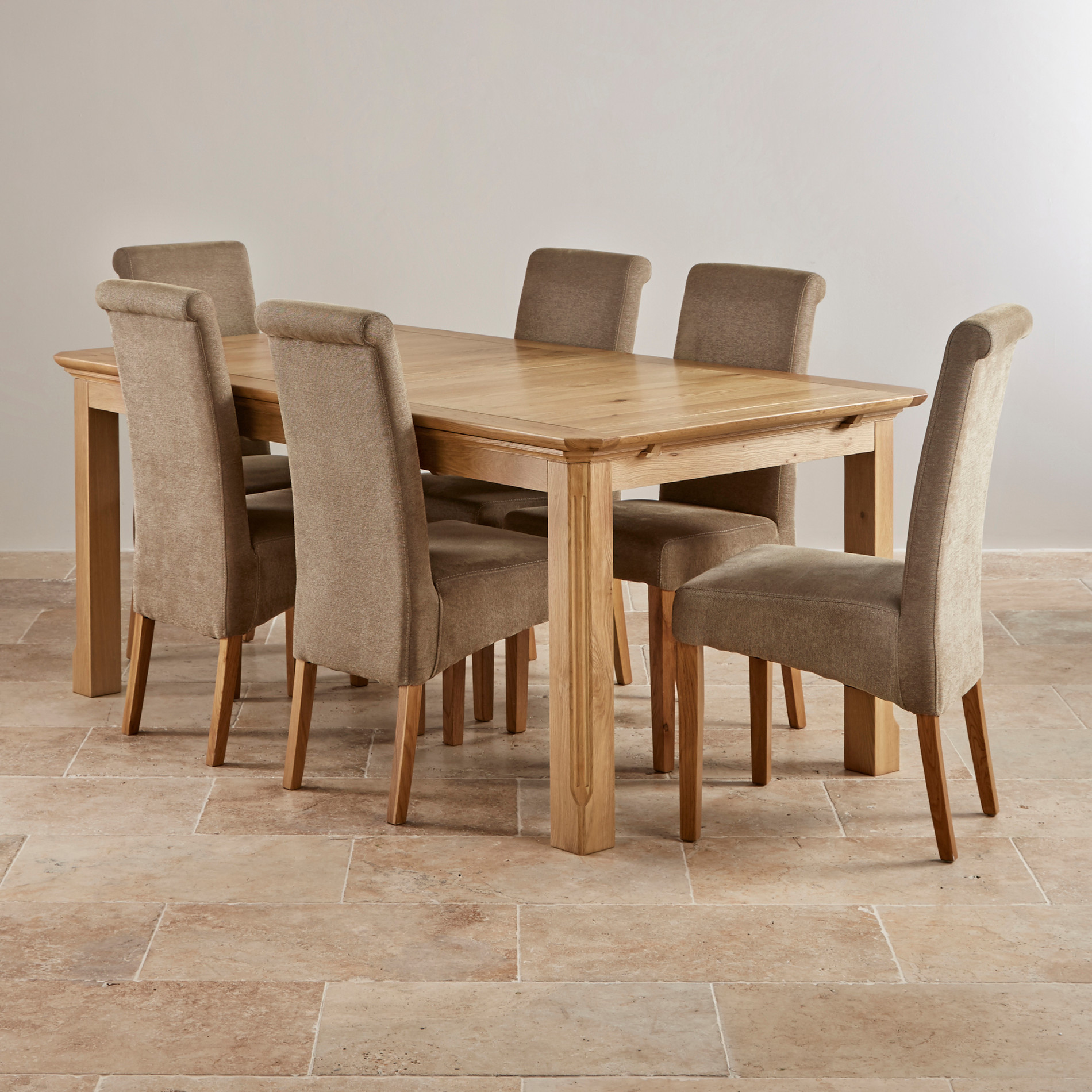 Solid Oak Dining Chairs: Edinburgh 6ft Extending Oak Dining Table + 6 Plain Sage Chairs