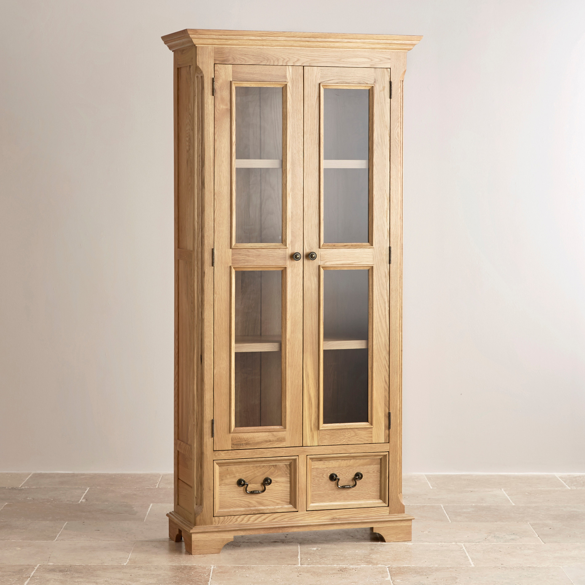 Express Delivery Edinburgh Natural Solid Oak Display Cabinet