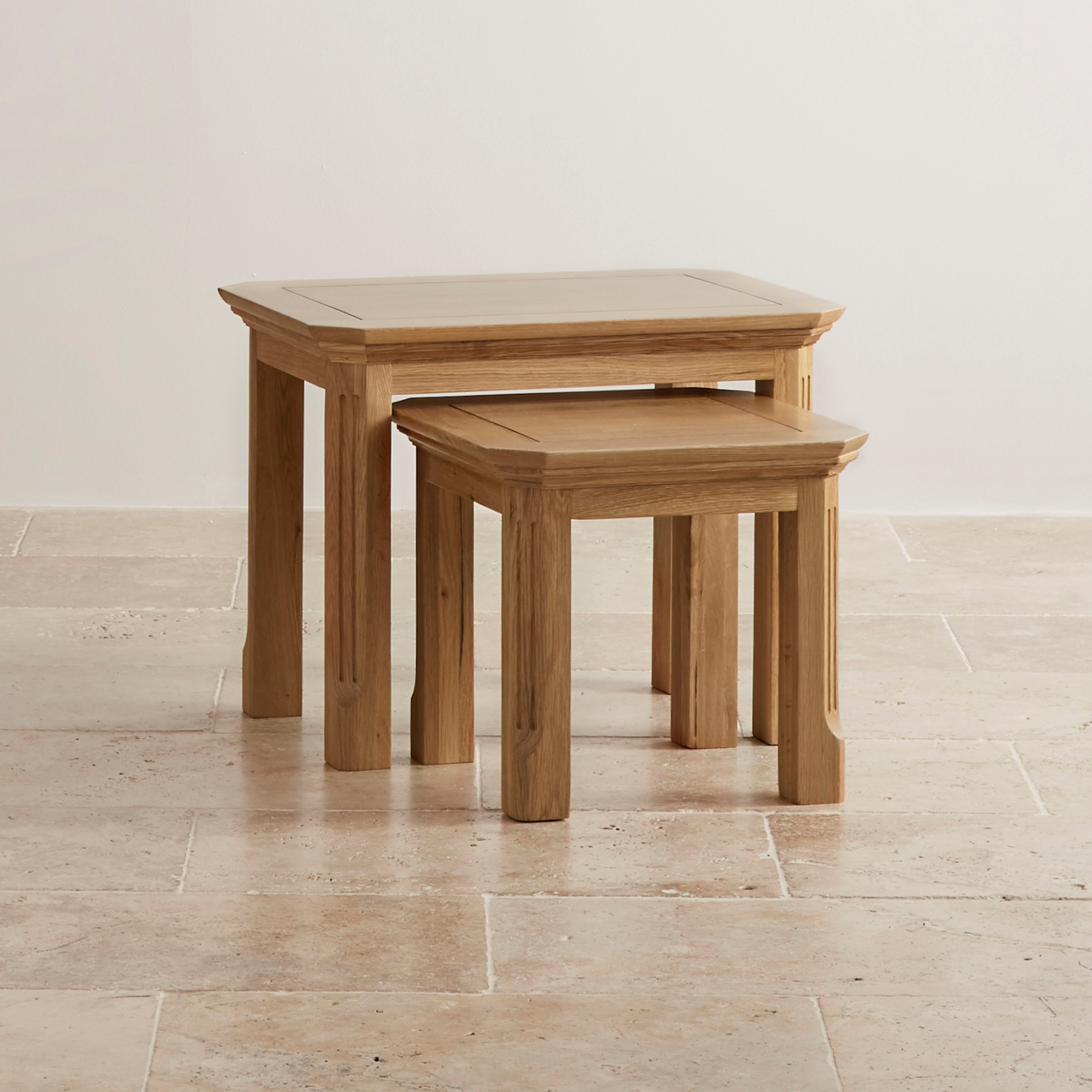 Edinburgh Natural Solid Oak Nest Of 2 Tables