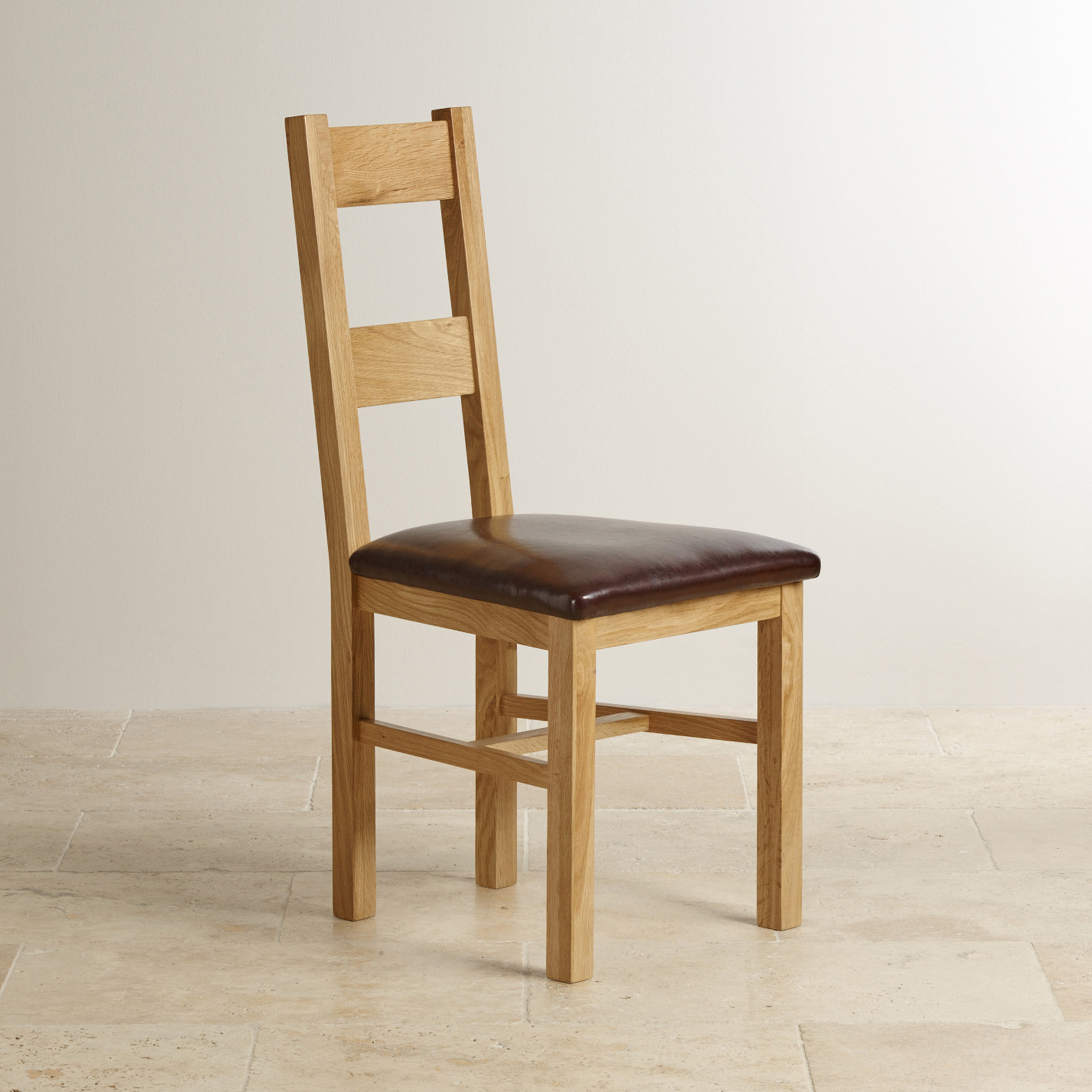 Oak Dinning Chairs: Farmhouse Natural Solid Oak Dining Chair