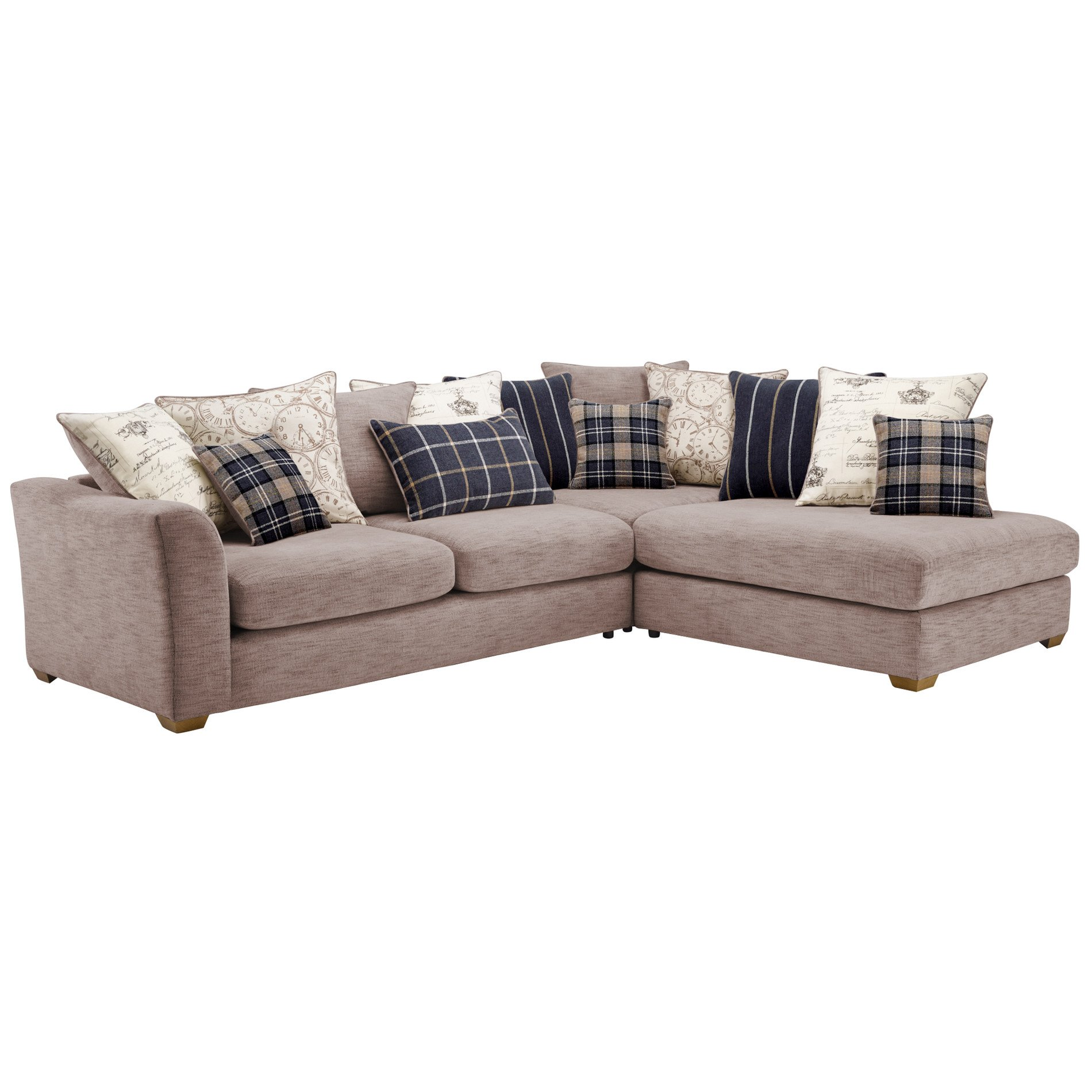 Florence Left Hand Corner Sofa with Pillow Back Silver