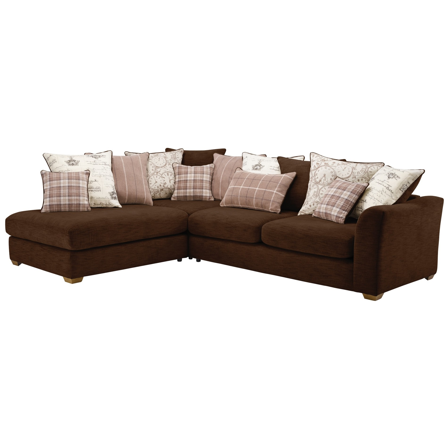 Florence Right Hand Corner Sofa with Pillow Back in Chocolate